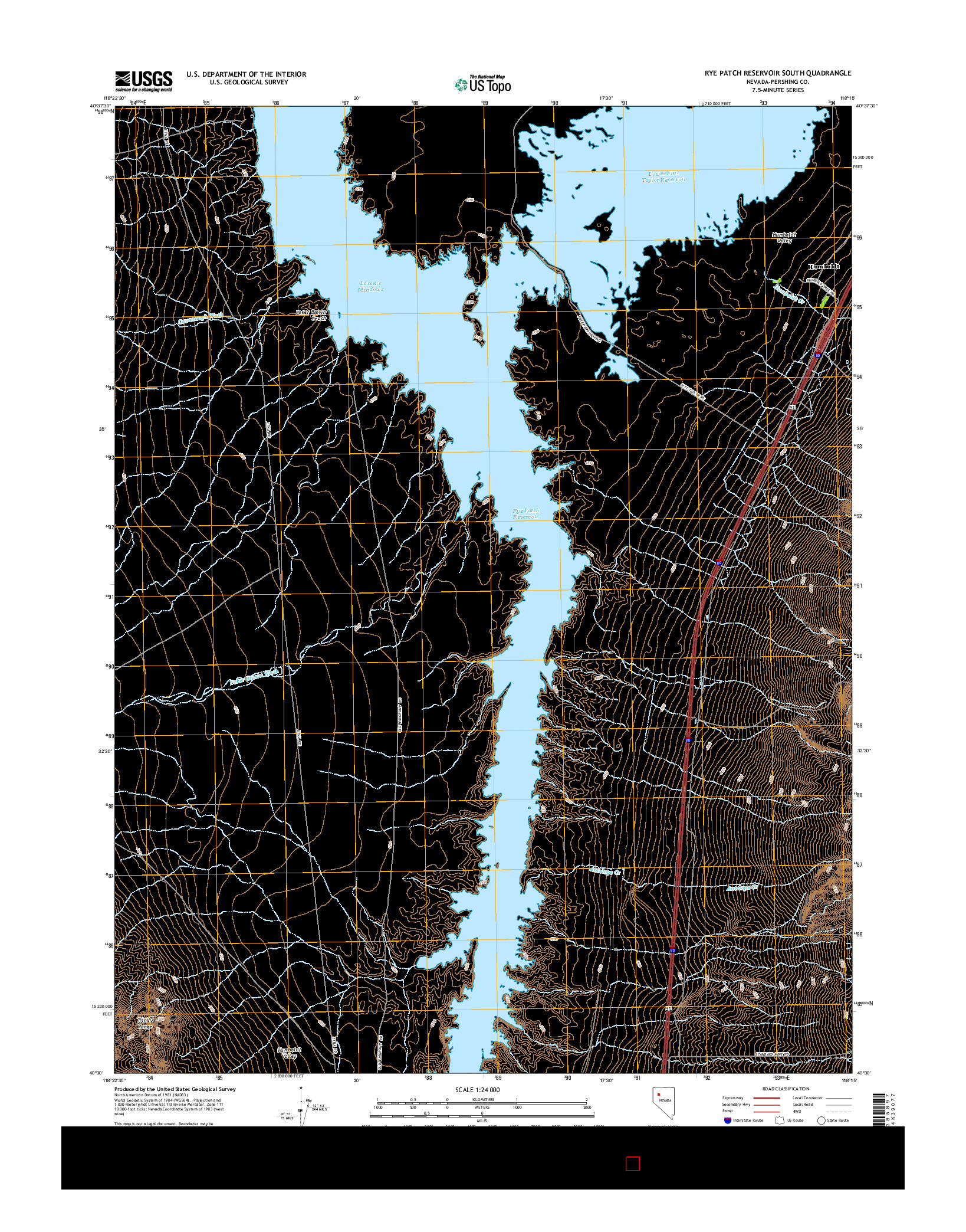 USGS US TOPO 7.5-MINUTE MAP FOR RYE PATCH RESERVOIR SOUTH, NV 2014