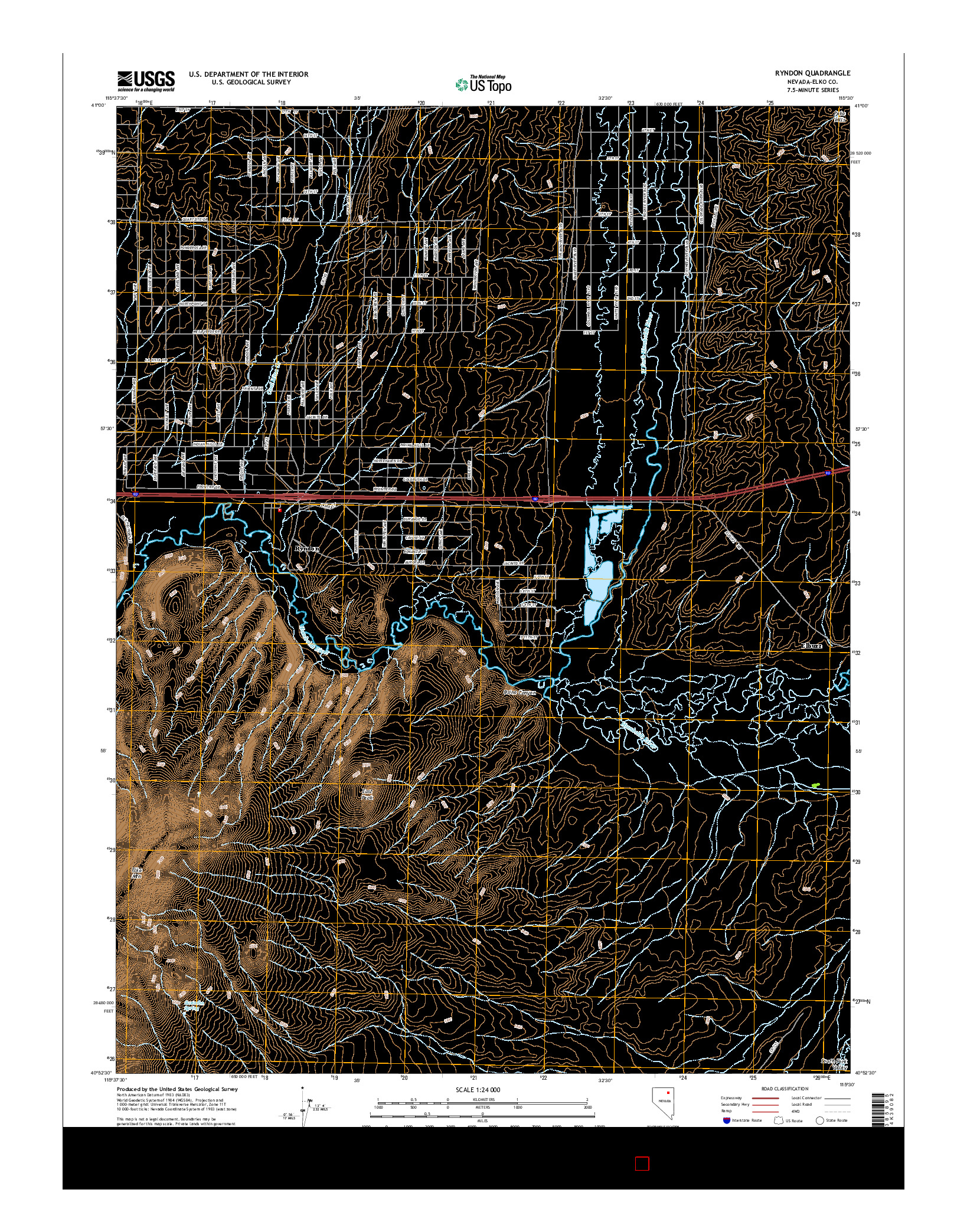 USGS US TOPO 7.5-MINUTE MAP FOR RYNDON, NV 2014