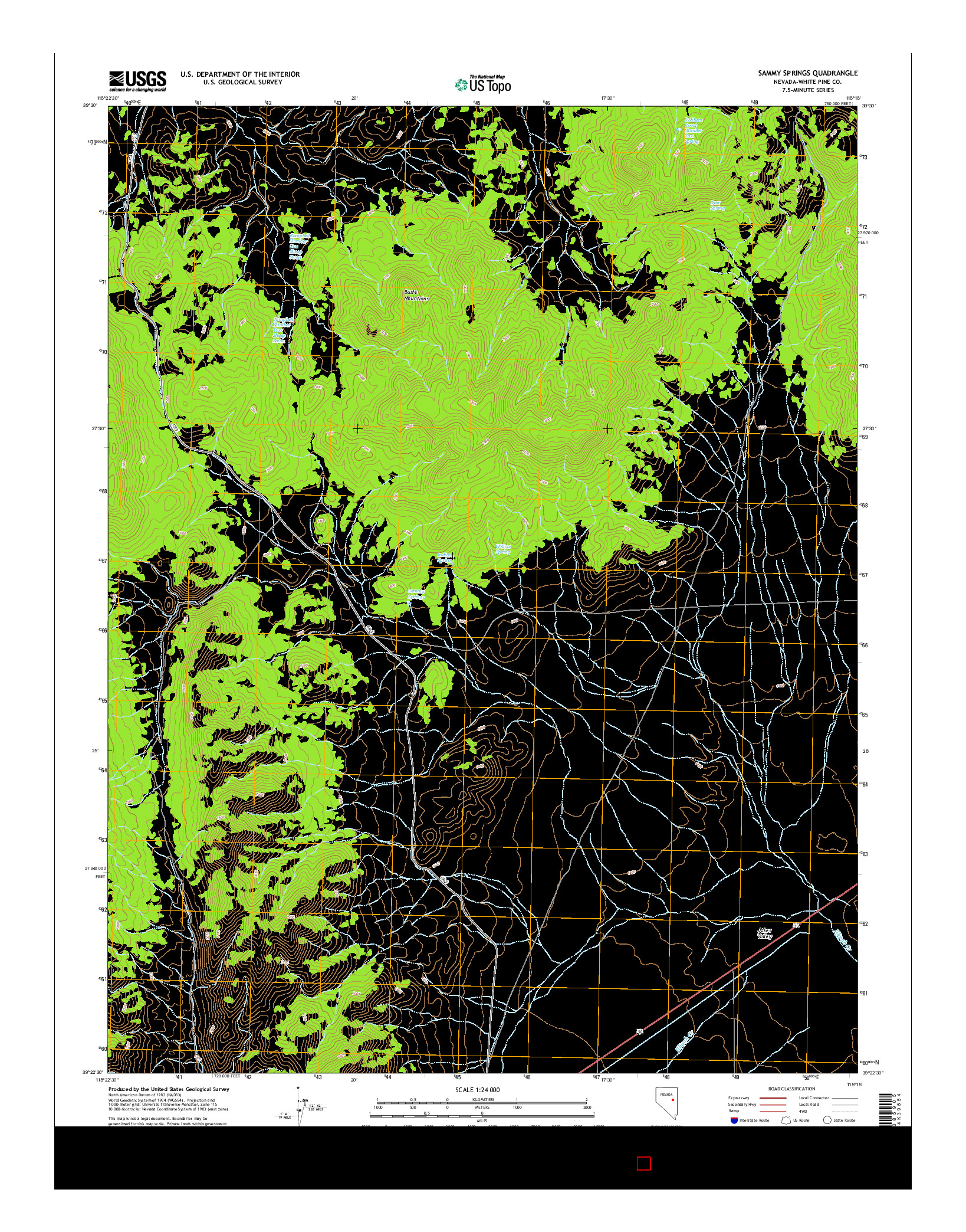 USGS US TOPO 7.5-MINUTE MAP FOR SAMMY SPRINGS, NV 2014
