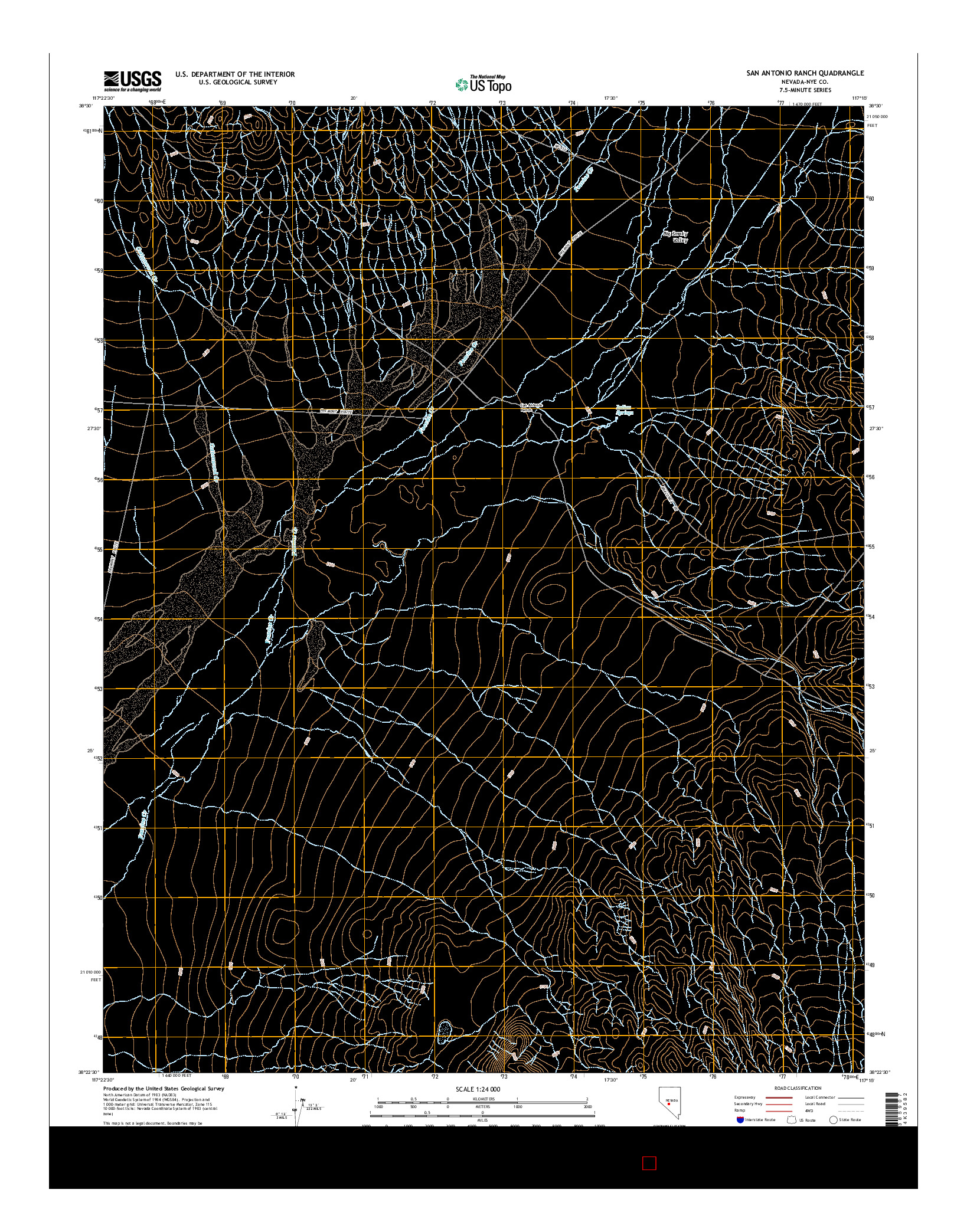 USGS US TOPO 7.5-MINUTE MAP FOR SAN ANTONIO RANCH, NV 2014