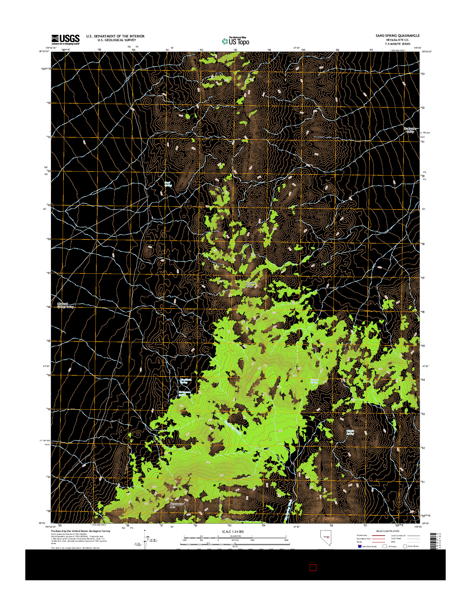 USGS US TOPO 7.5-MINUTE MAP FOR SAND SPRING, NV 2014