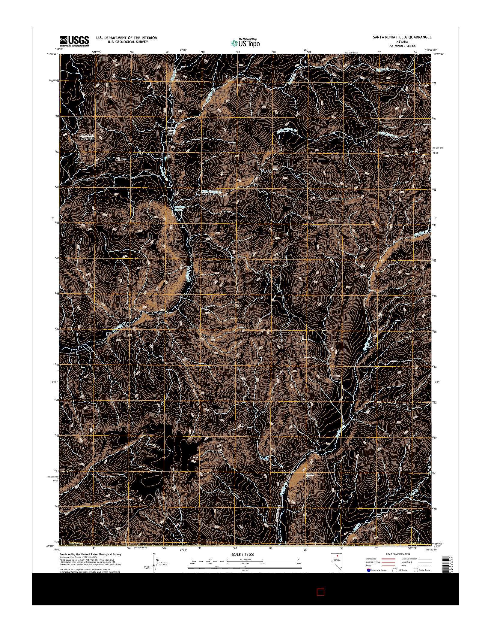 USGS US TOPO 7.5-MINUTE MAP FOR SANTA RENIA FIELDS, NV 2014