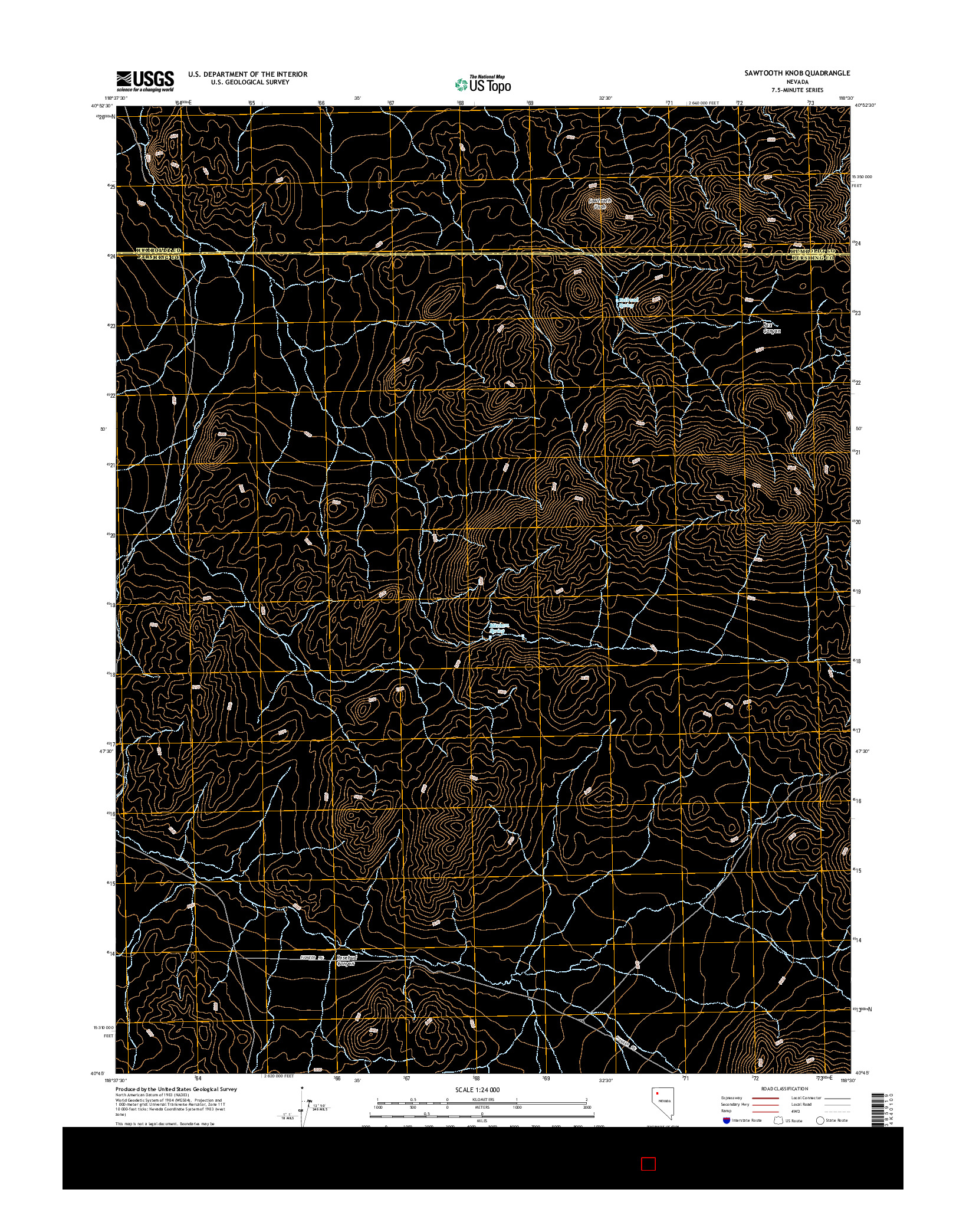 USGS US TOPO 7.5-MINUTE MAP FOR SAWTOOTH KNOB, NV 2014