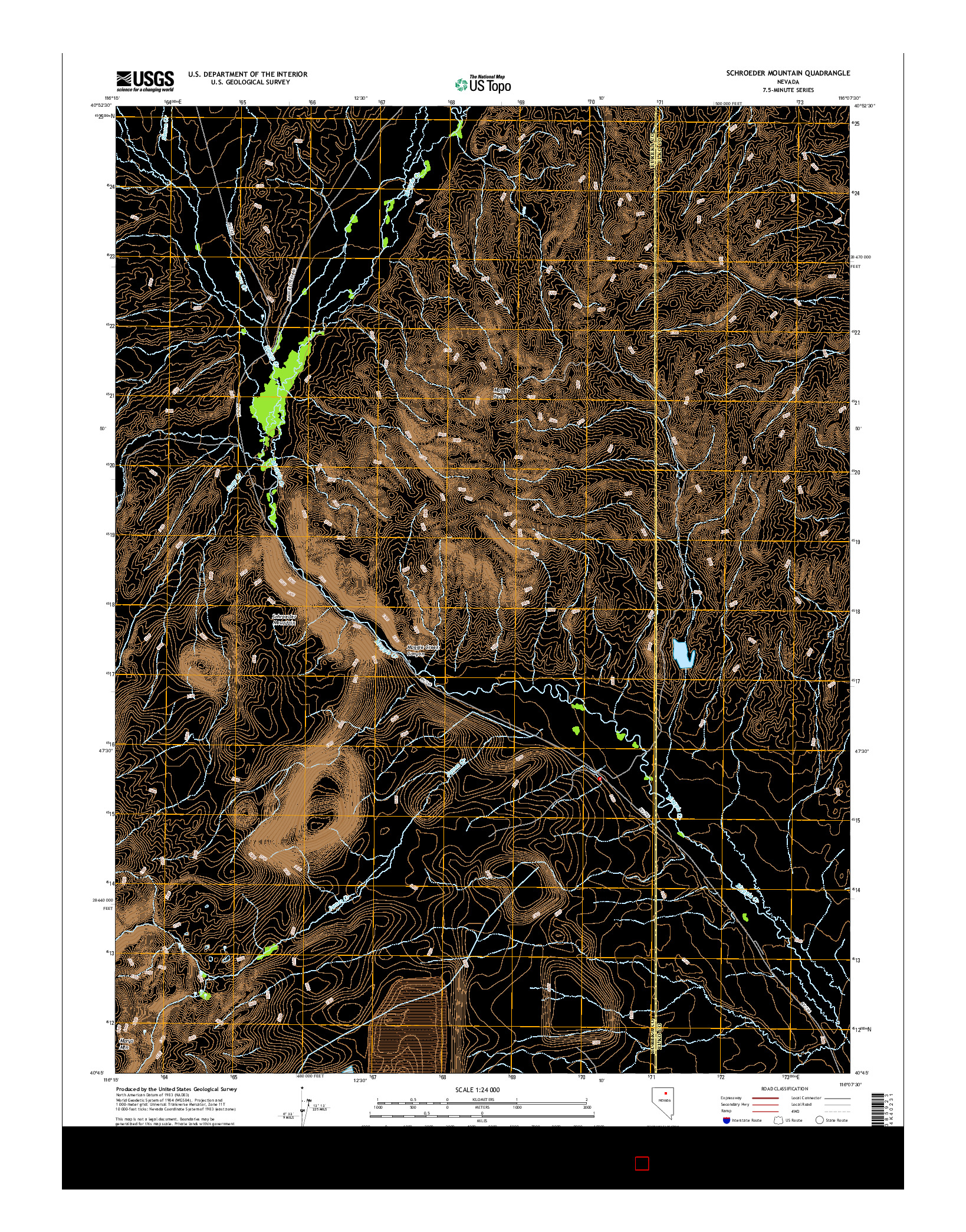 USGS US TOPO 7.5-MINUTE MAP FOR SCHROEDER MOUNTAIN, NV 2014