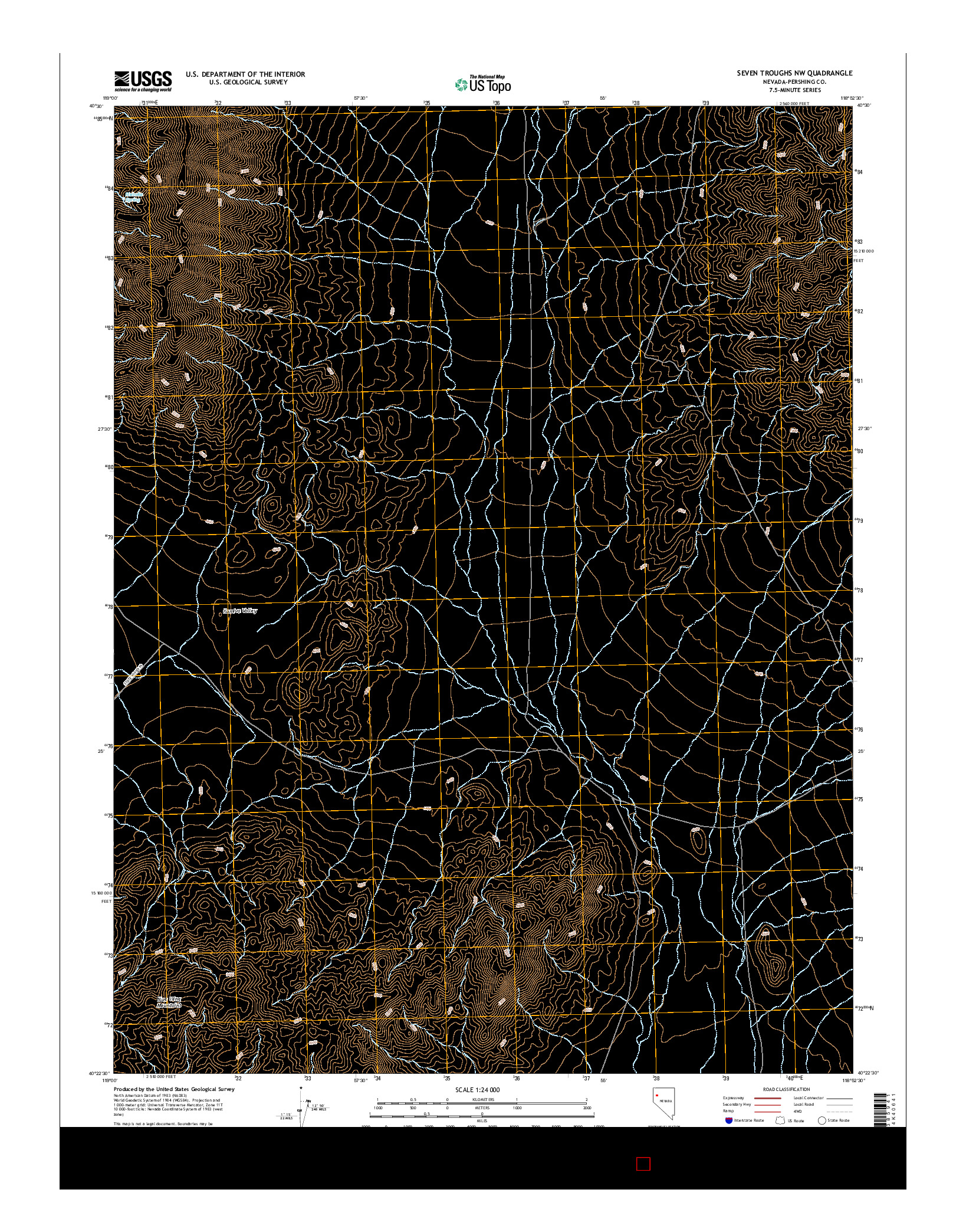 USGS US TOPO 7.5-MINUTE MAP FOR SEVEN TROUGHS NW, NV 2014