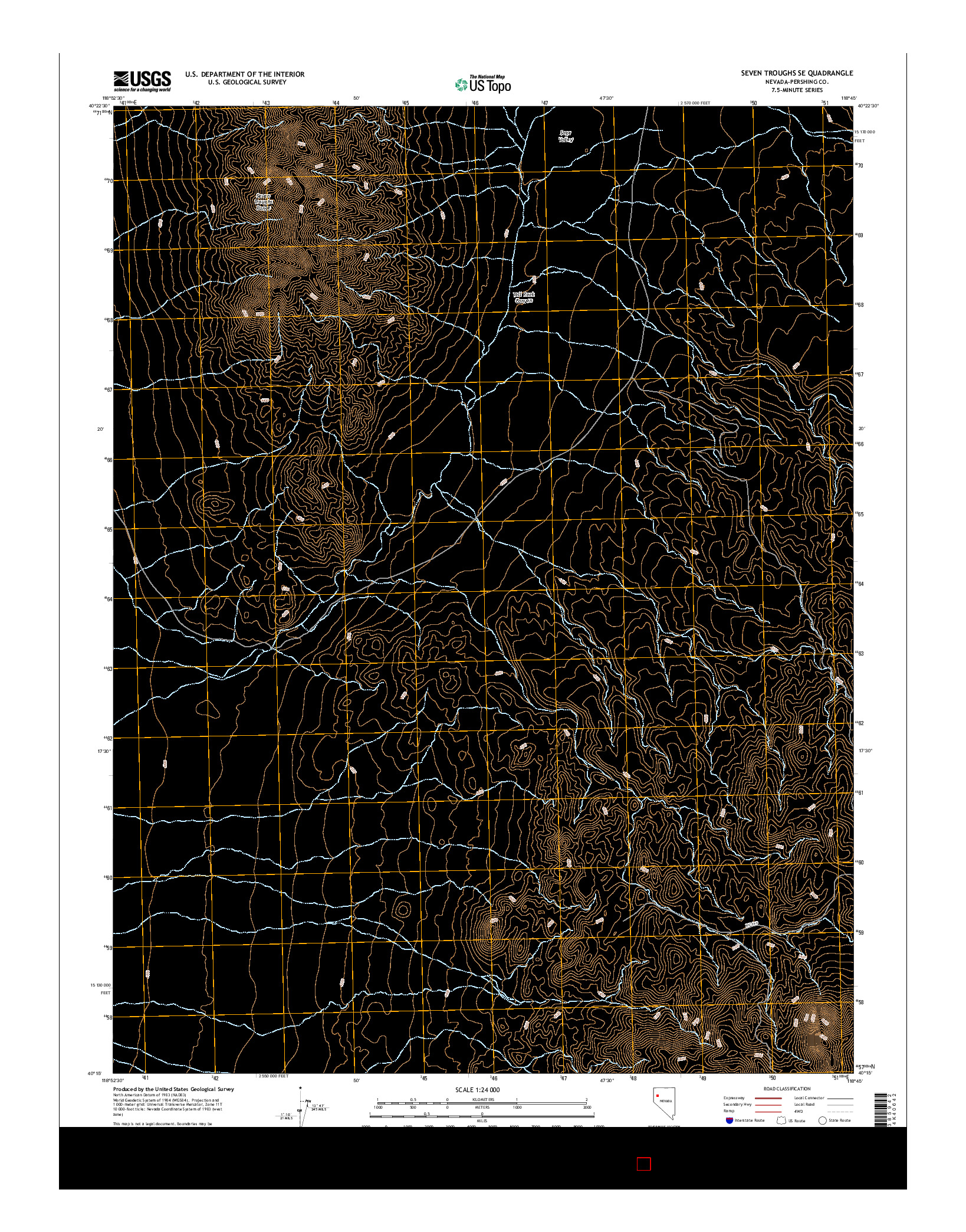 USGS US TOPO 7.5-MINUTE MAP FOR SEVEN TROUGHS SE, NV 2014