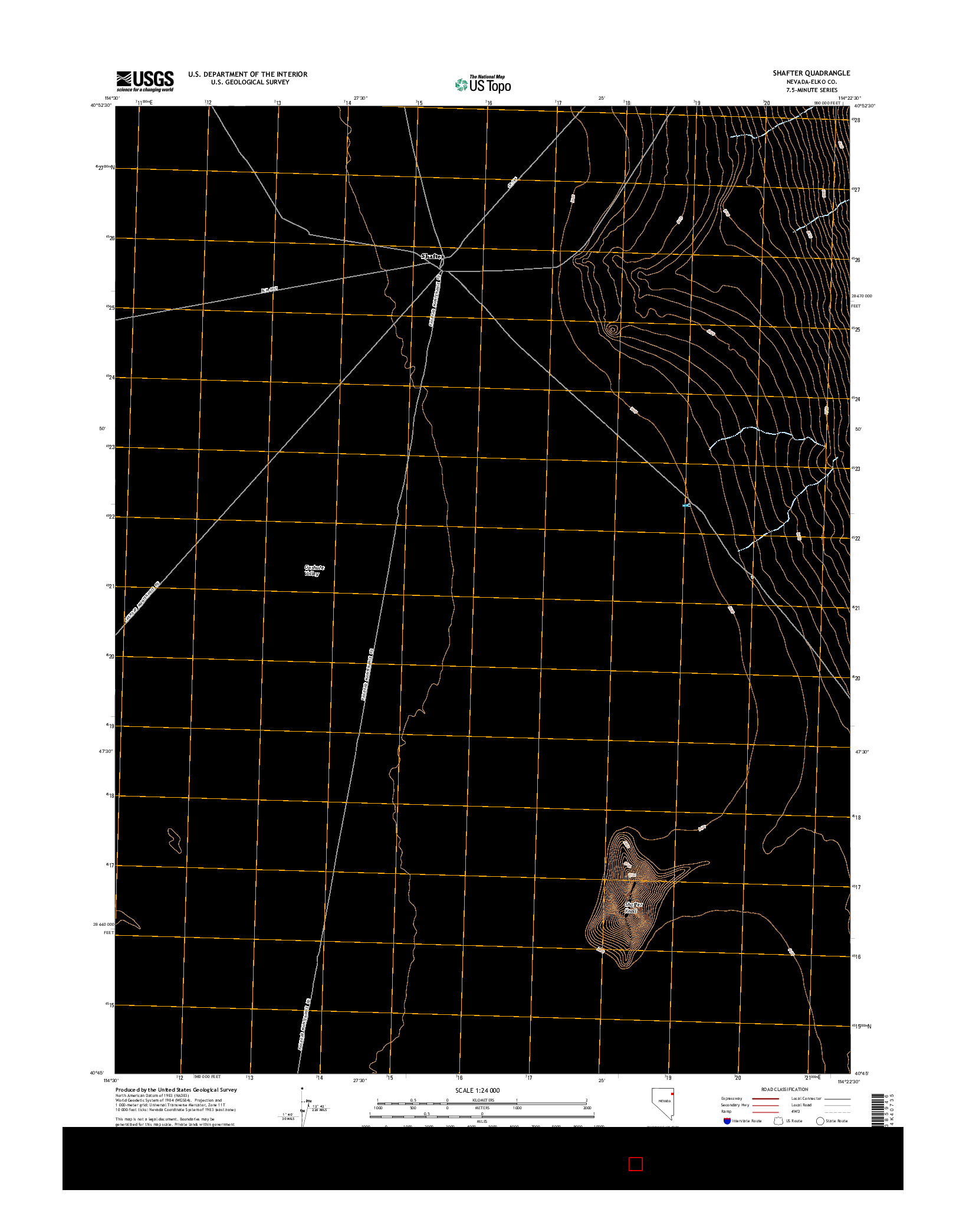 USGS US TOPO 7.5-MINUTE MAP FOR SHAFTER, NV 2014