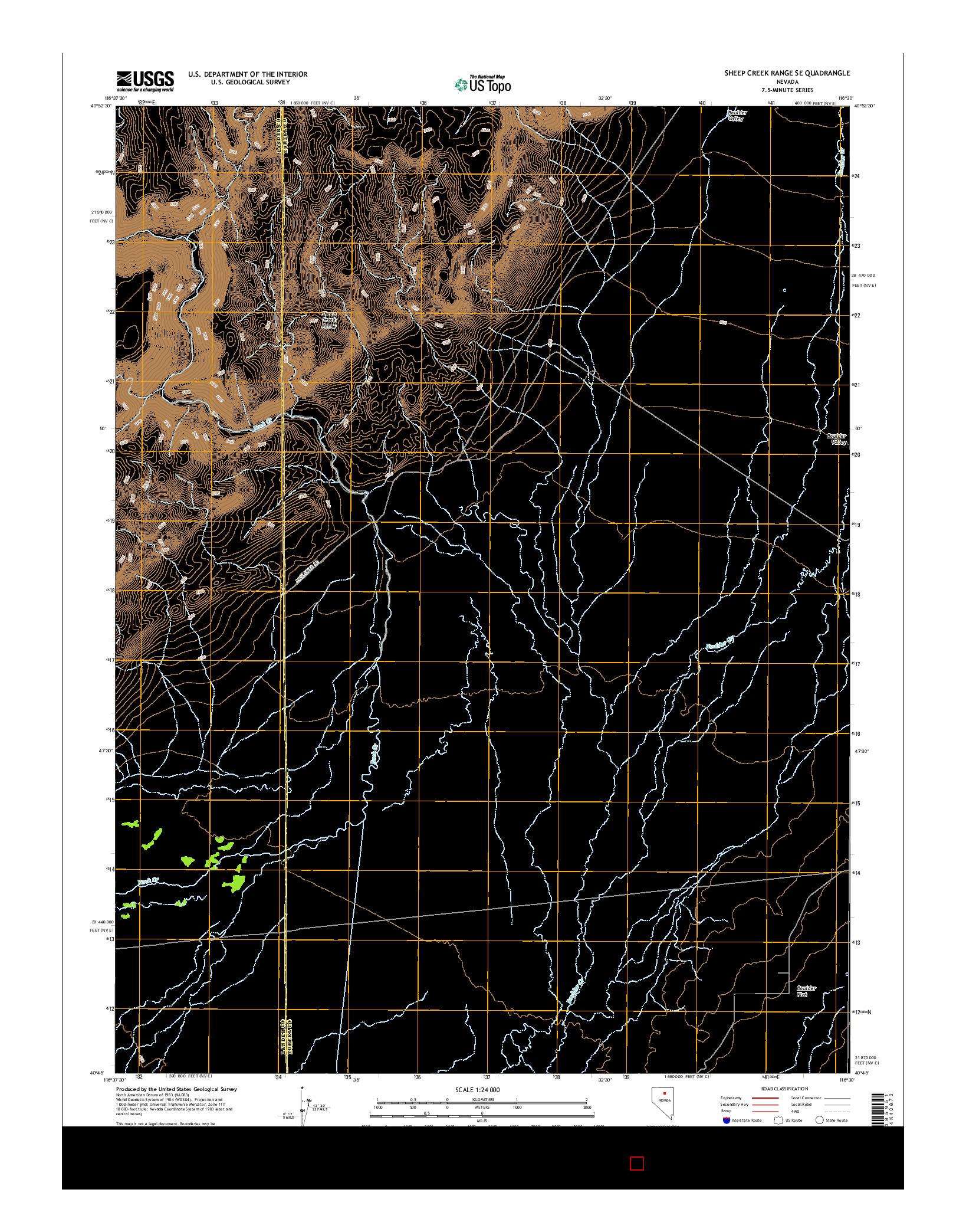 USGS US TOPO 7.5-MINUTE MAP FOR SHEEP CREEK RANGE SE, NV 2014