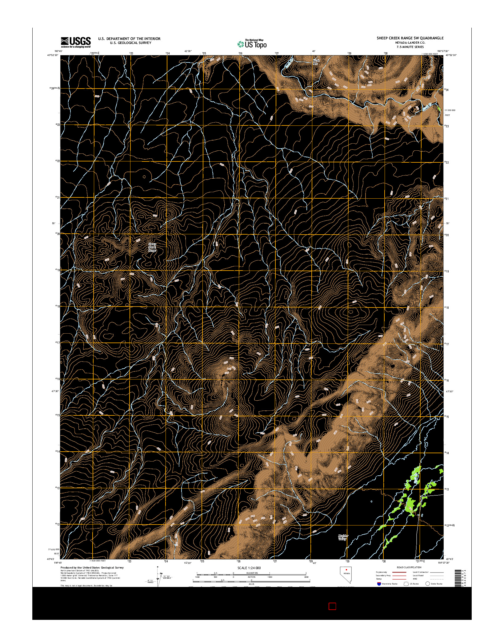 USGS US TOPO 7.5-MINUTE MAP FOR SHEEP CREEK RANGE SW, NV 2014
