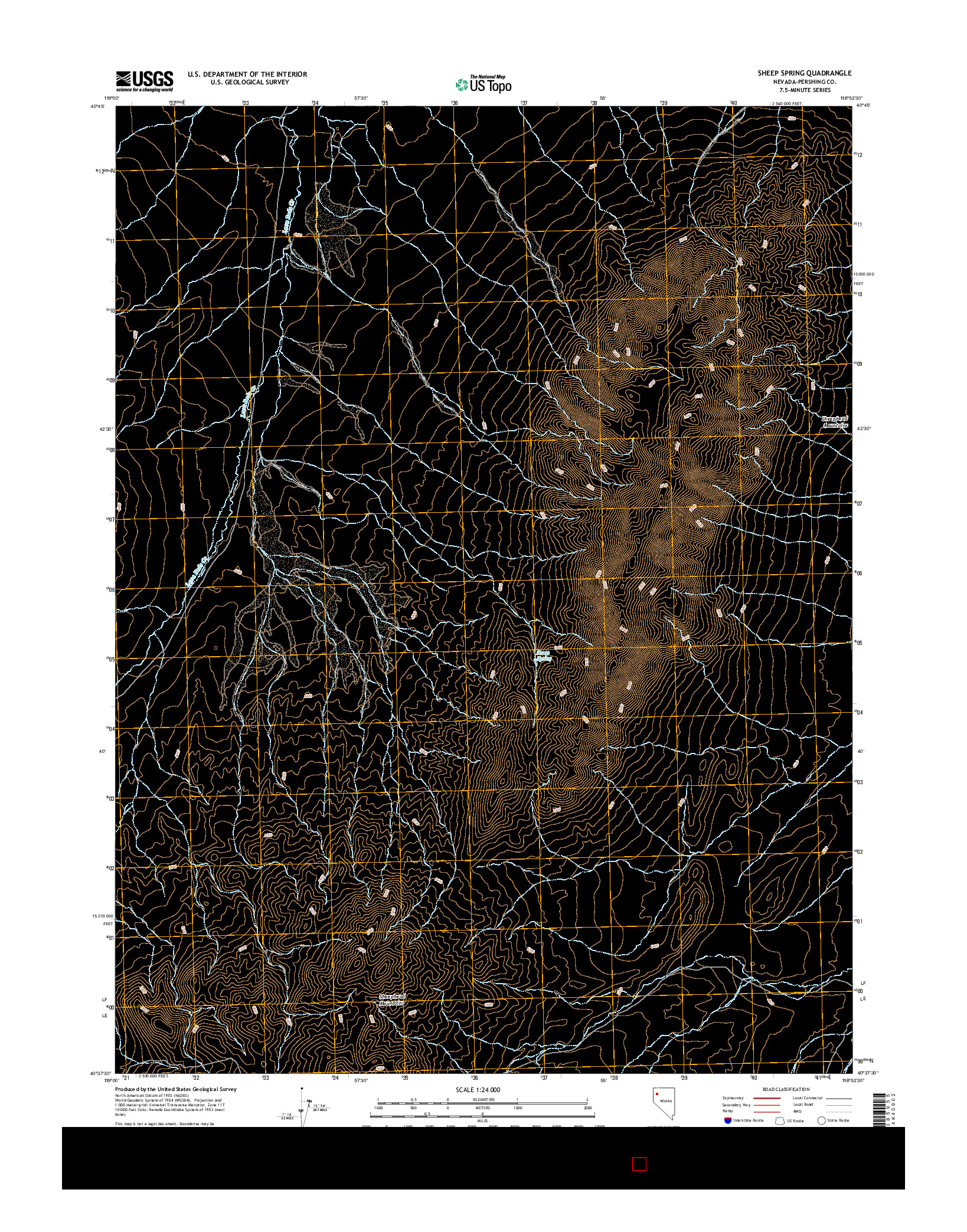 USGS US TOPO 7.5-MINUTE MAP FOR SHEEP SPRING, NV 2014