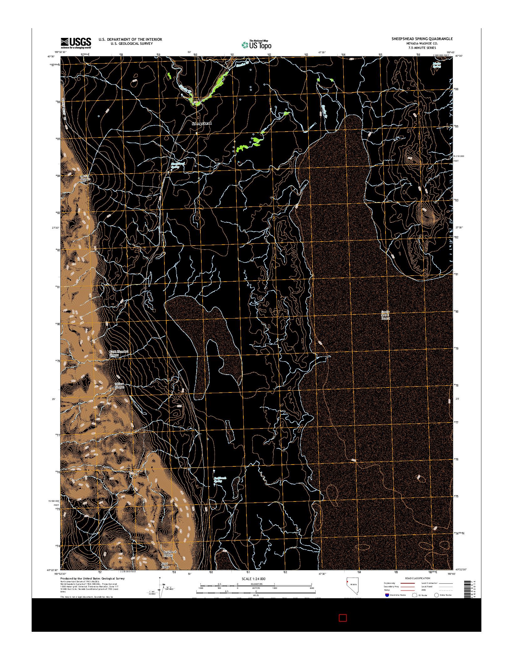 USGS US TOPO 7.5-MINUTE MAP FOR SHEEPSHEAD SPRING, NV 2014