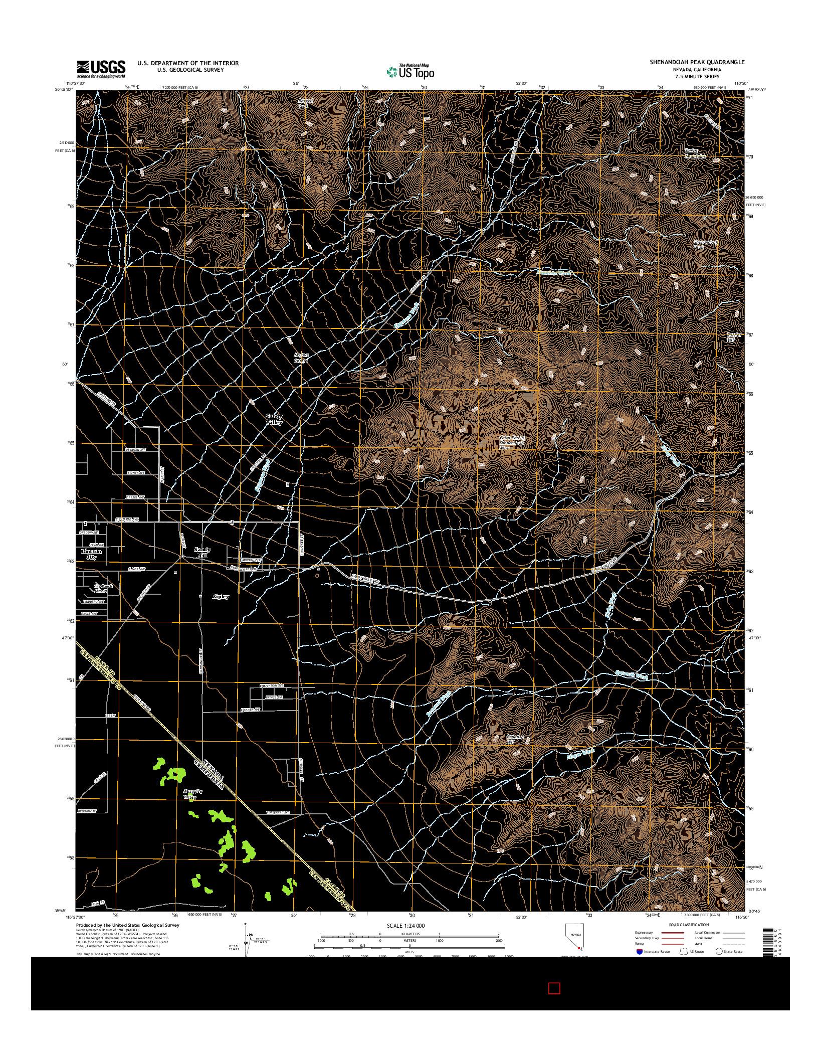 USGS US TOPO 7.5-MINUTE MAP FOR SHENANDOAH PEAK, NV-CA 2014