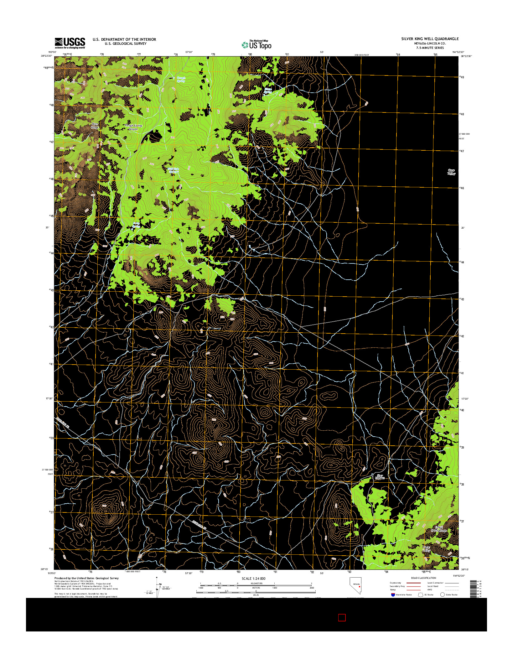 USGS US TOPO 7.5-MINUTE MAP FOR SILVER KING WELL, NV 2014