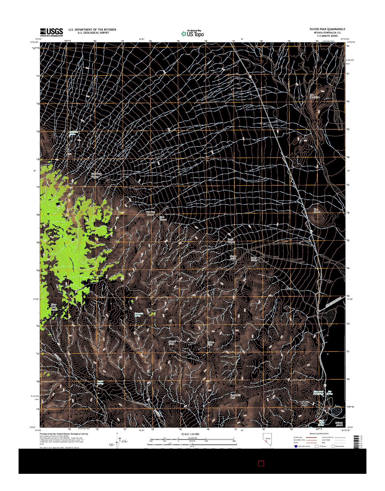 USGS US TOPO 7.5-MINUTE MAP FOR SILVER PEAK, NV 2014