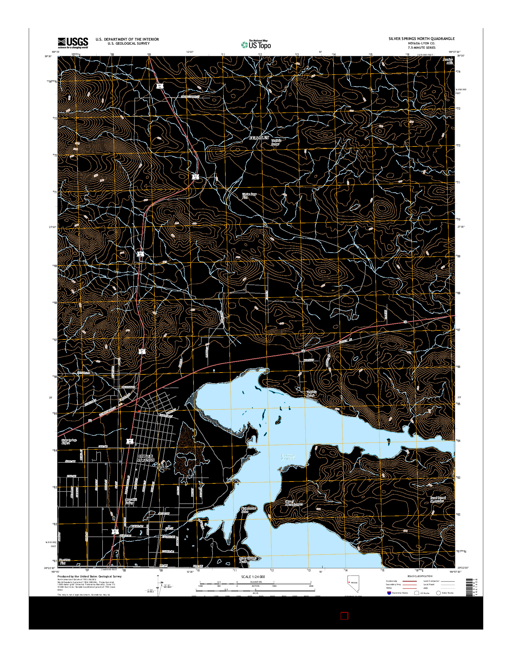 USGS US TOPO 7.5-MINUTE MAP FOR SILVER SPRINGS NORTH, NV 2014