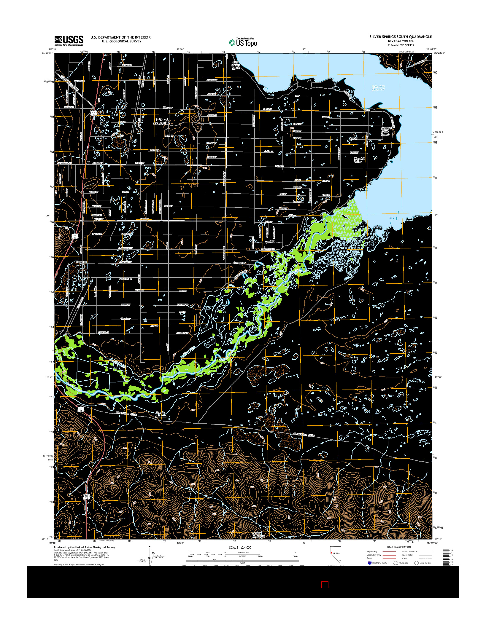 USGS US TOPO 7.5-MINUTE MAP FOR SILVER SPRINGS SOUTH, NV 2014