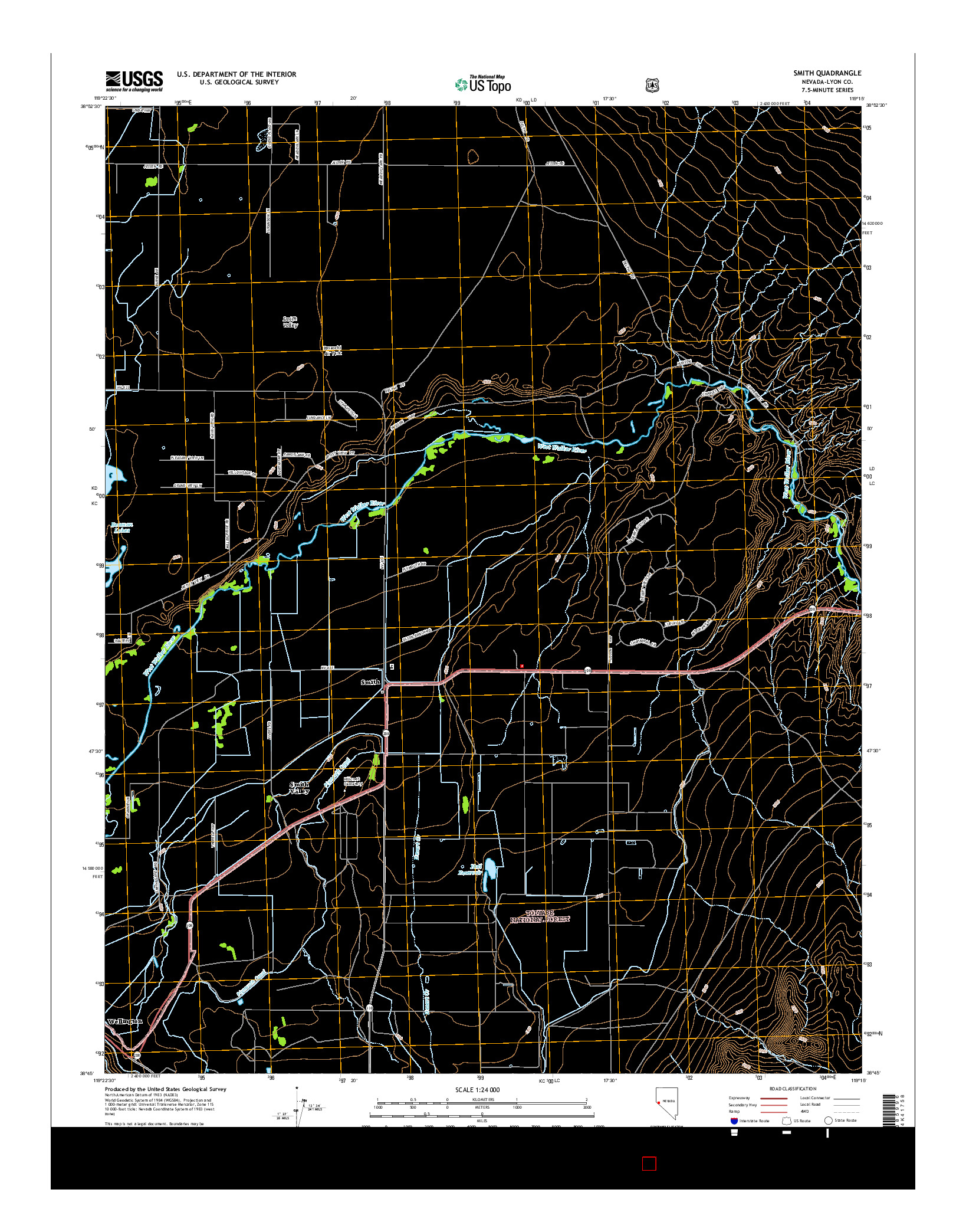 USGS US TOPO 7.5-MINUTE MAP FOR SMITH, NV 2014