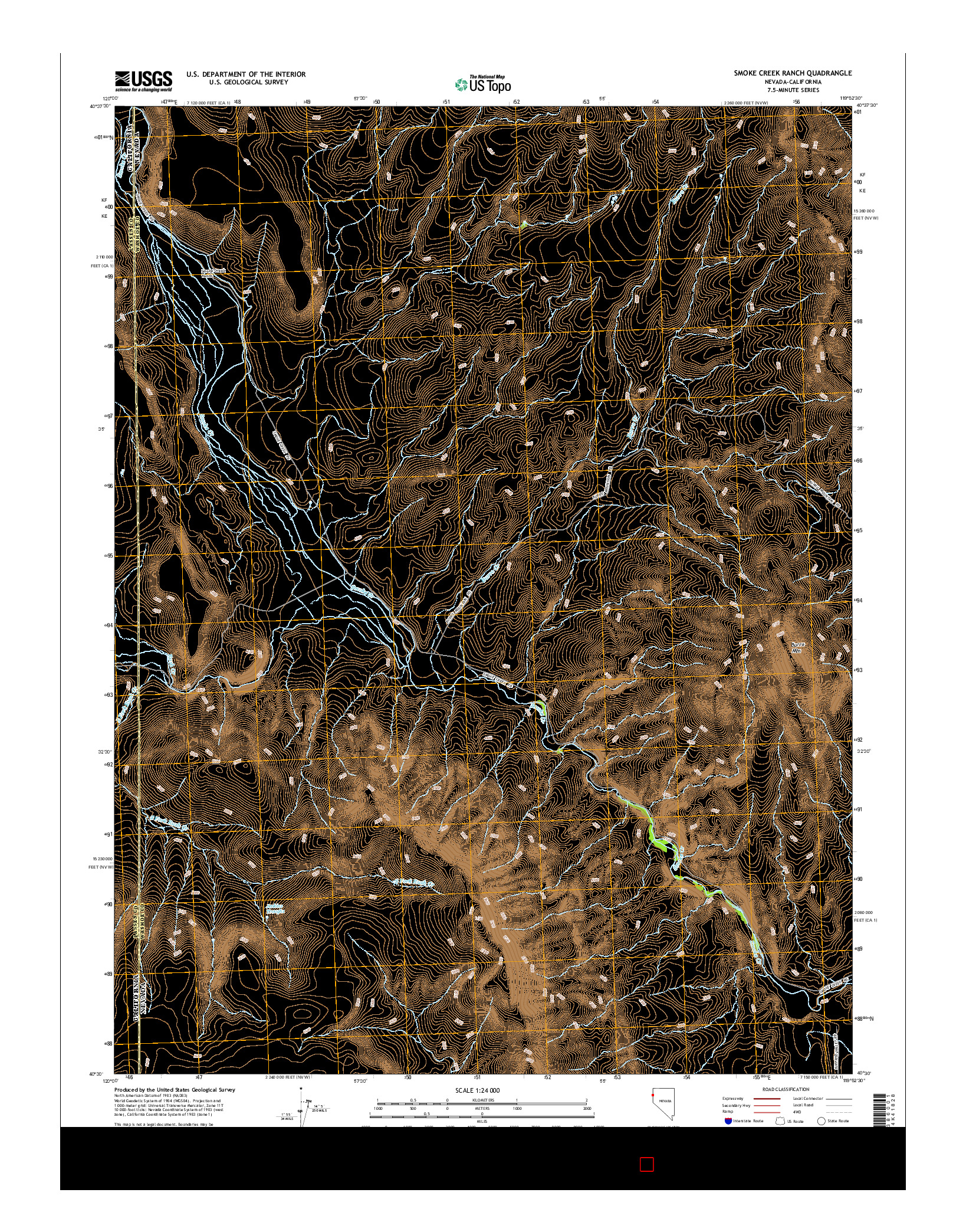USGS US TOPO 7.5-MINUTE MAP FOR SMOKE CREEK RANCH, NV-CA 2014