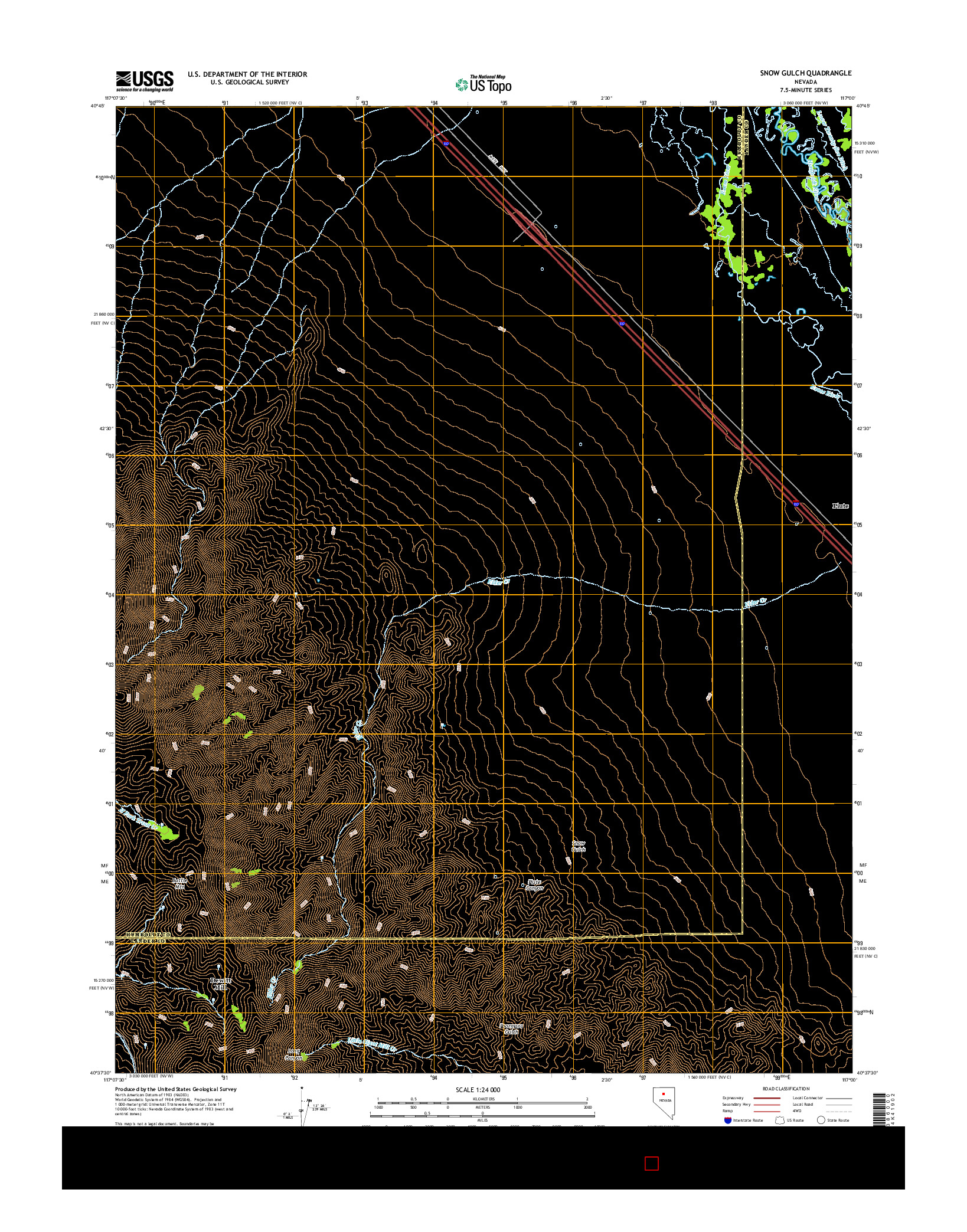 USGS US TOPO 7.5-MINUTE MAP FOR SNOW GULCH, NV 2014
