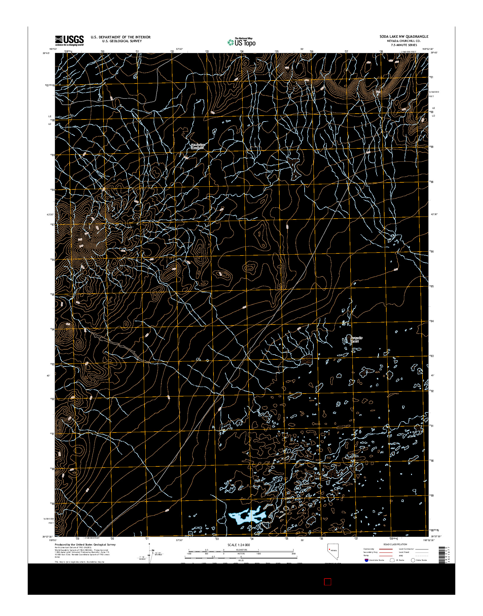 USGS US TOPO 7.5-MINUTE MAP FOR SODA LAKE NW, NV 2014