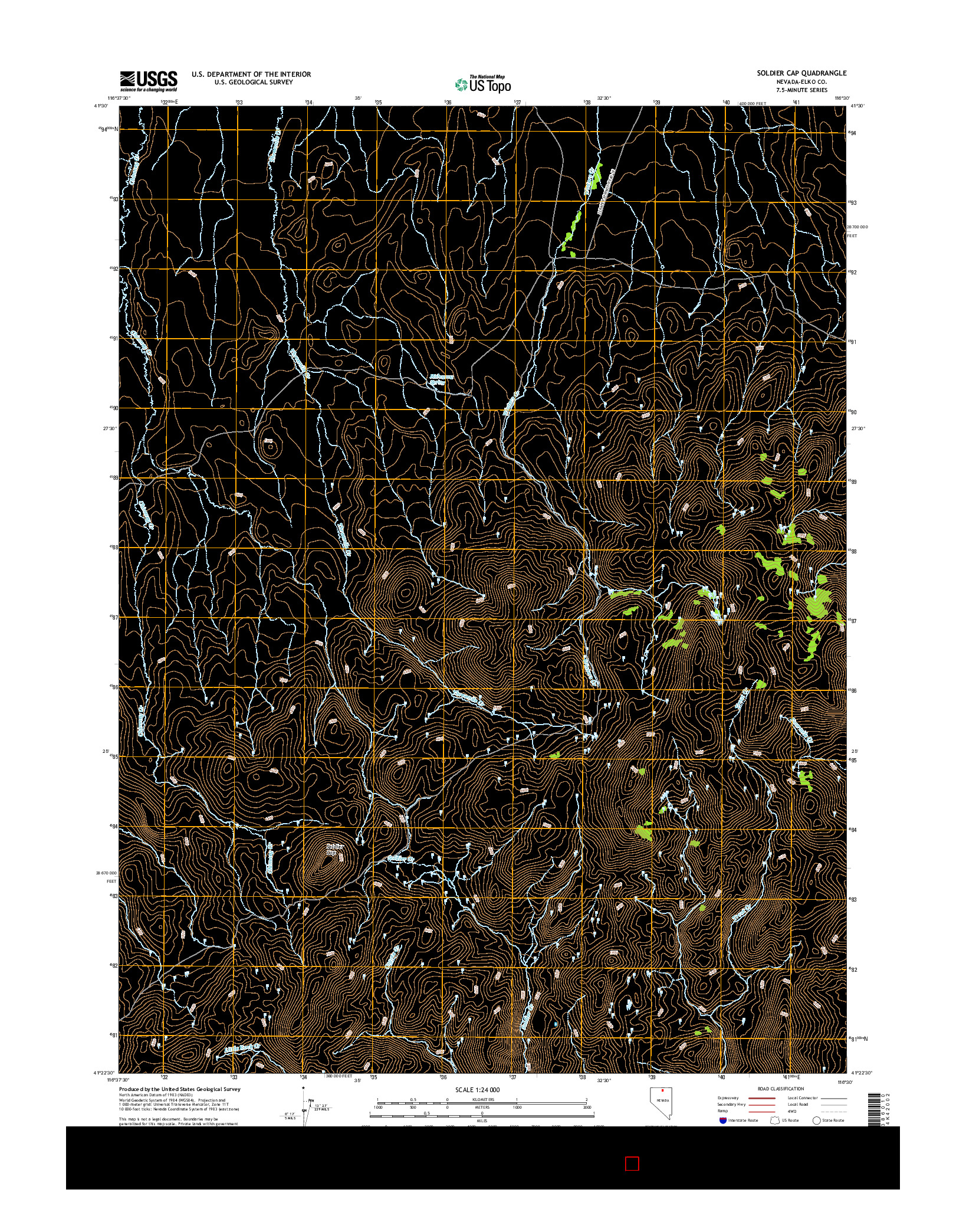 USGS US TOPO 7.5-MINUTE MAP FOR SOLDIER CAP, NV 2014