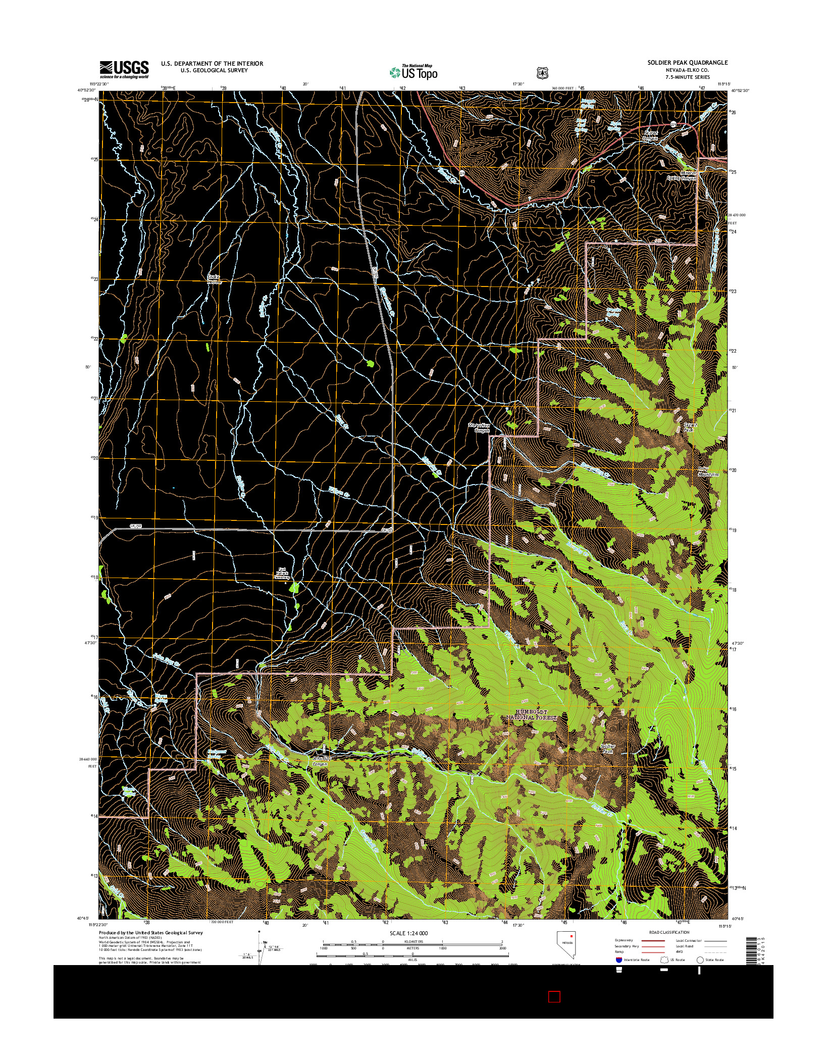 USGS US TOPO 7.5-MINUTE MAP FOR SOLDIER PEAK, NV 2014