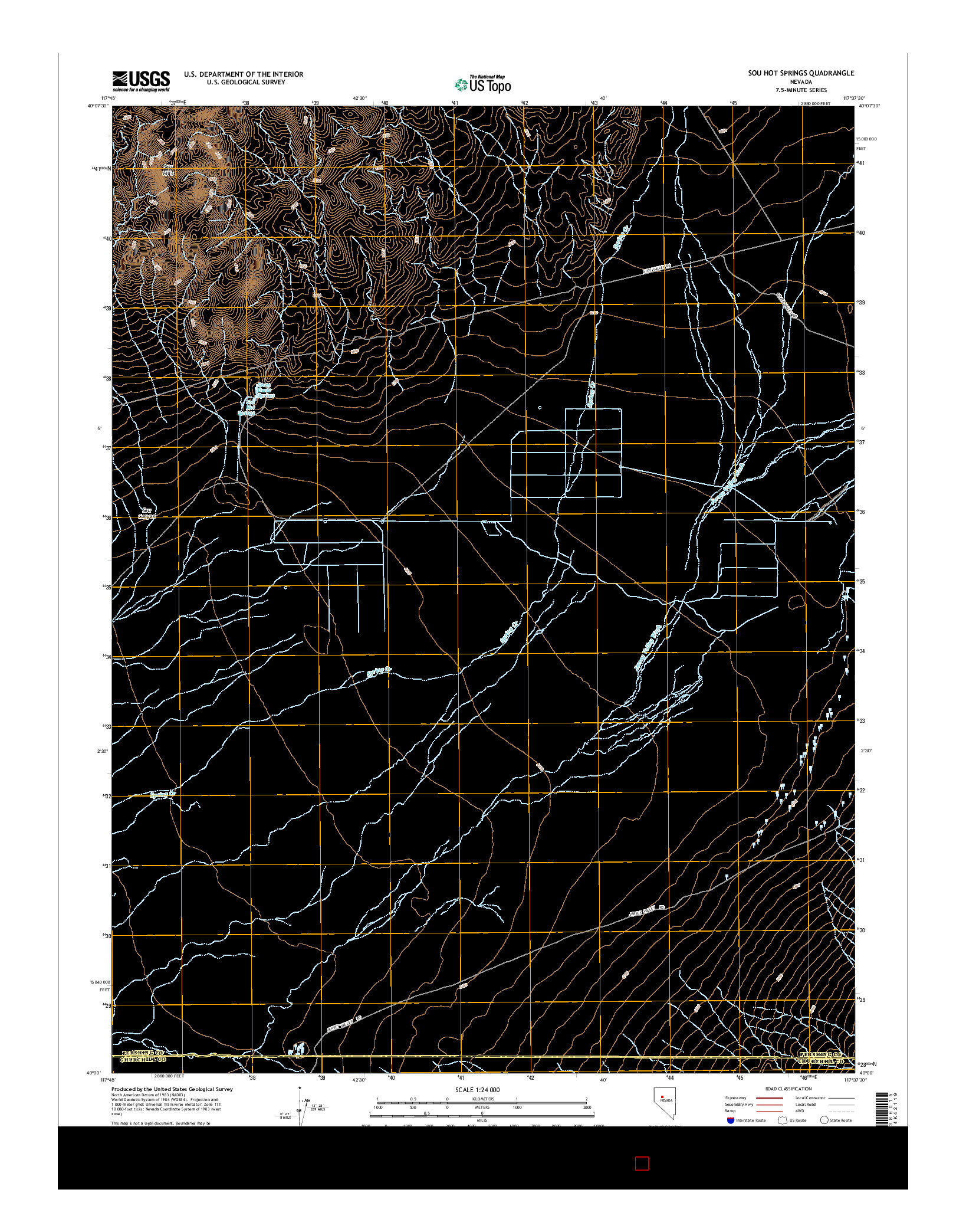 USGS US TOPO 7.5-MINUTE MAP FOR SOU HOT SPRINGS, NV 2014