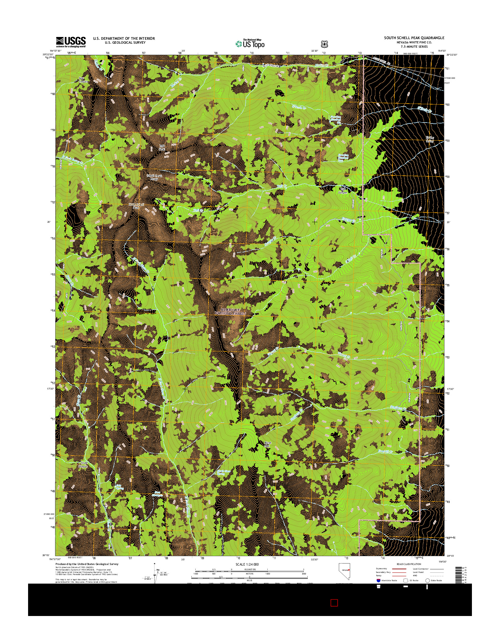 USGS US TOPO 7.5-MINUTE MAP FOR SOUTH SCHELL PEAK, NV 2014