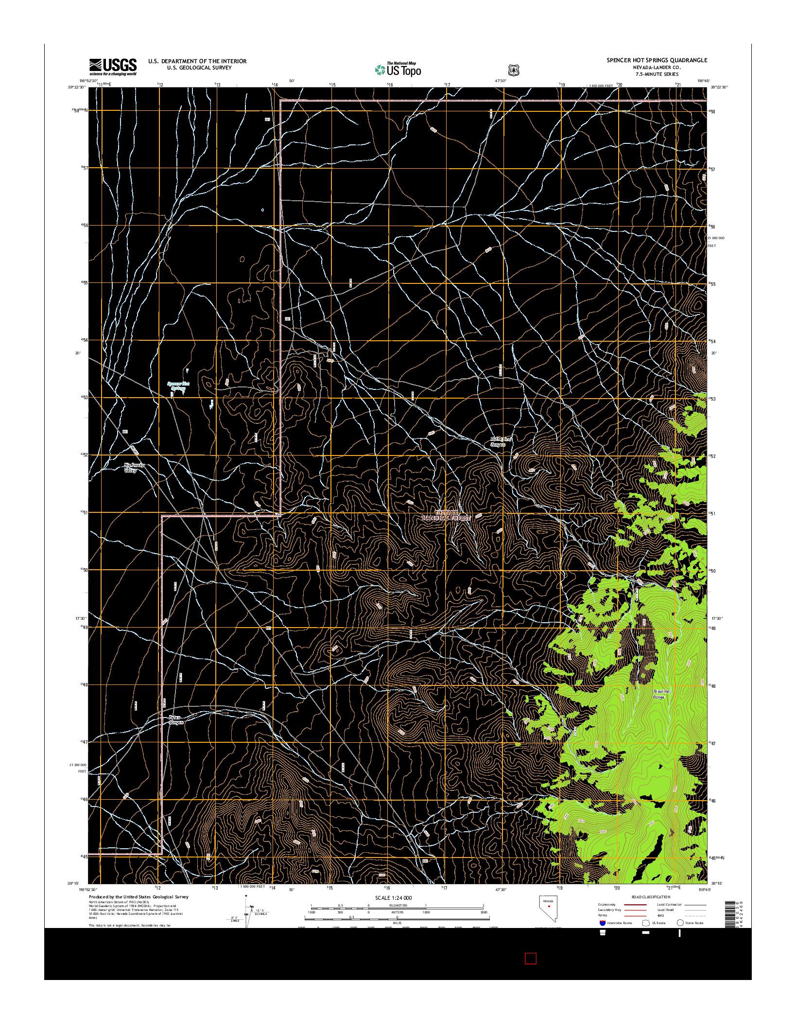 USGS US TOPO 7.5-MINUTE MAP FOR SPENCER HOT SPRINGS, NV 2014