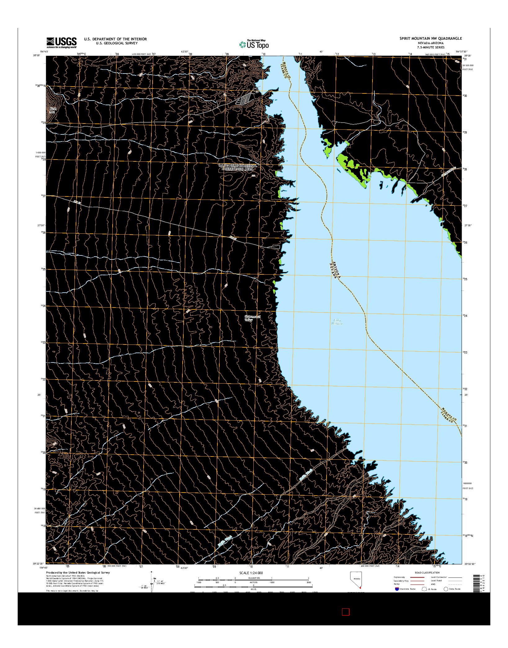 USGS US TOPO 7.5-MINUTE MAP FOR SPIRIT MOUNTAIN NW, NV-AZ 2014