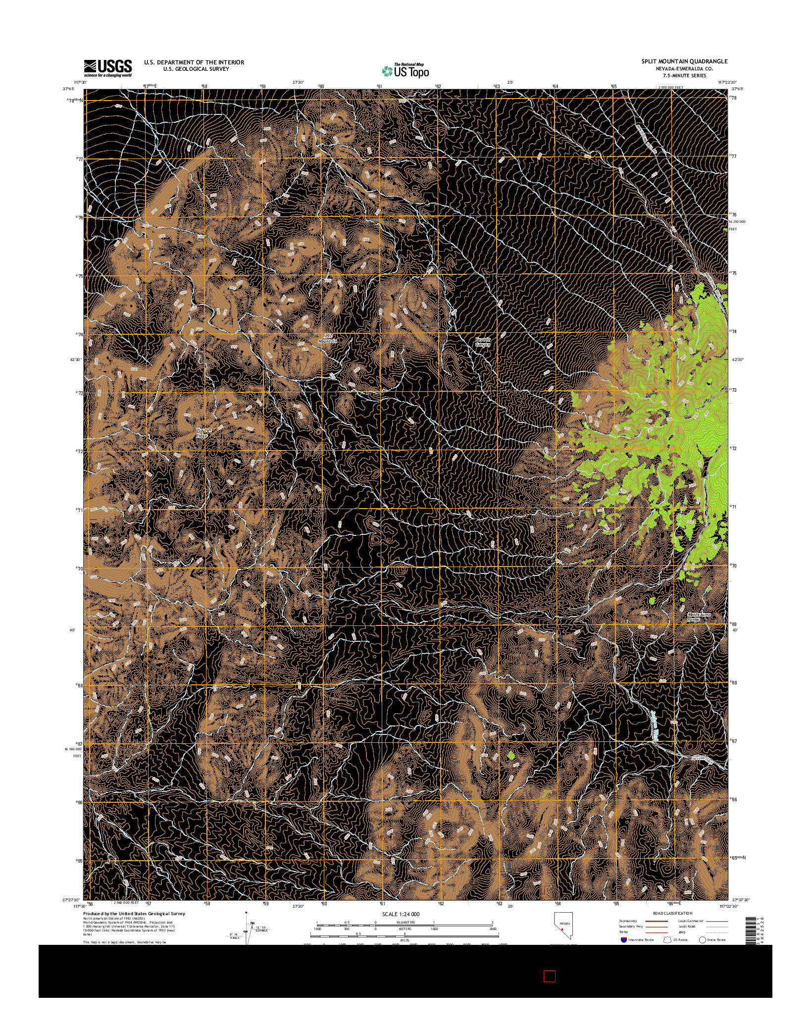 USGS US TOPO 7.5-MINUTE MAP FOR SPLIT MOUNTAIN, NV 2014