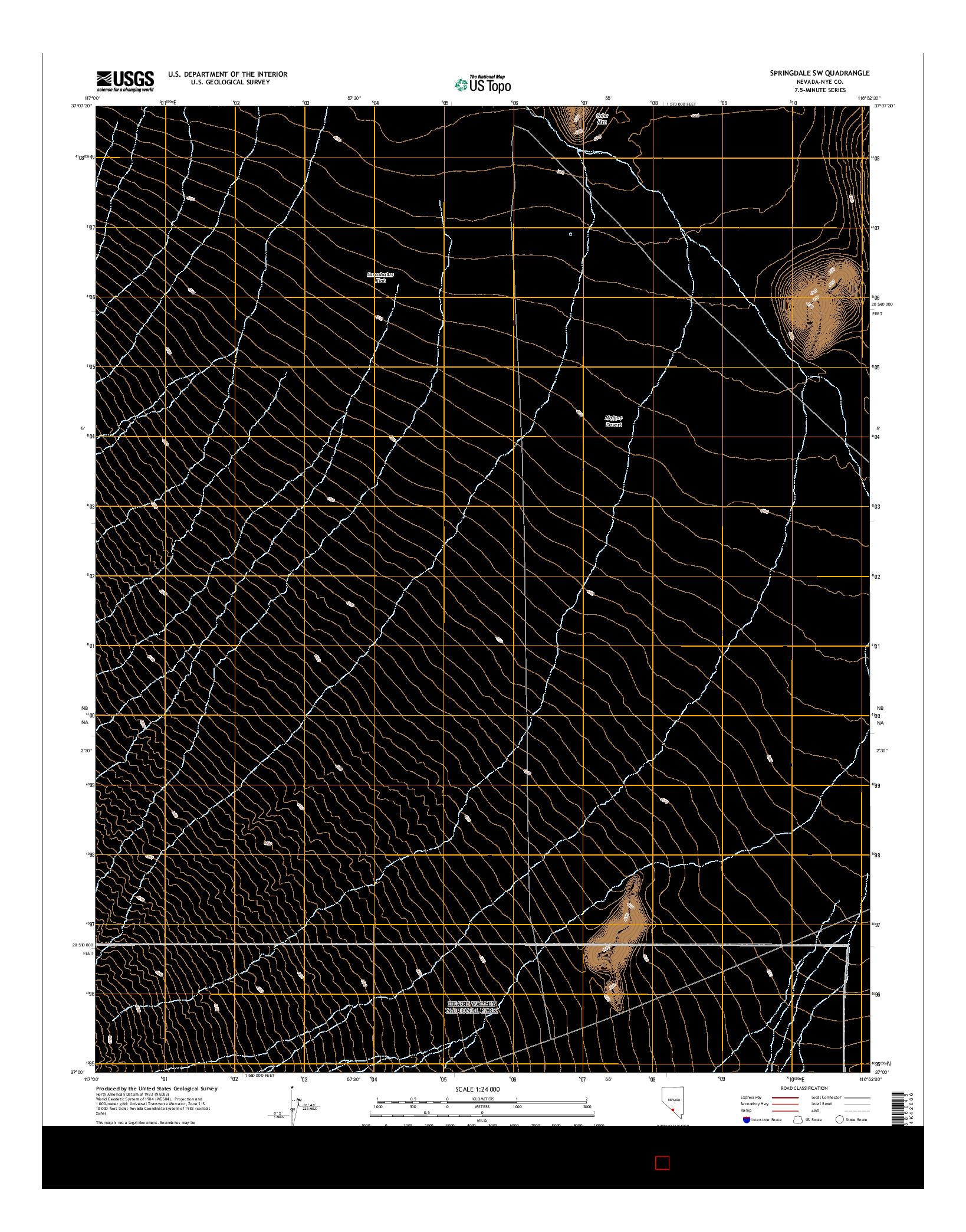 USGS US TOPO 7.5-MINUTE MAP FOR SPRINGDALE SW, NV 2014