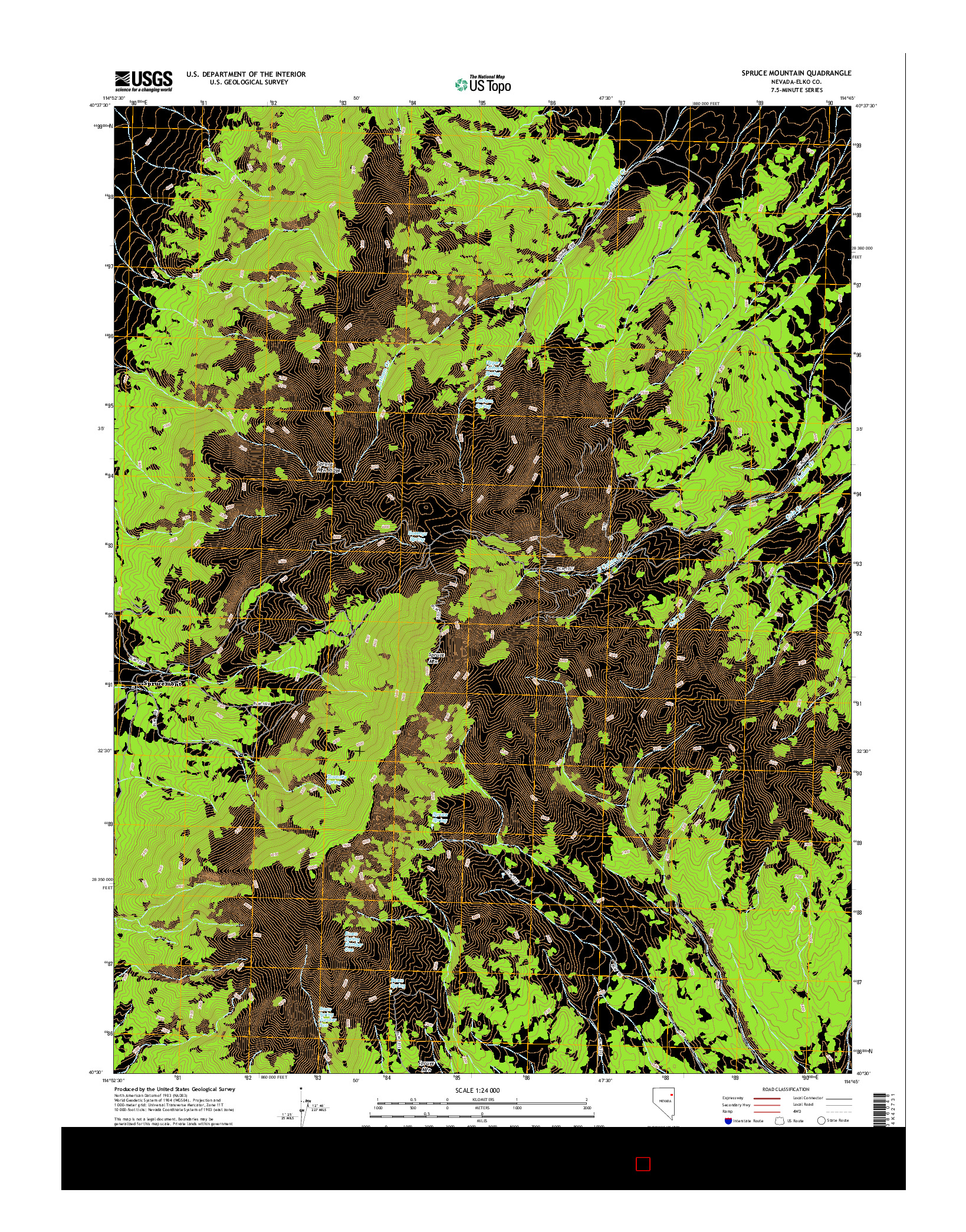 USGS US TOPO 7.5-MINUTE MAP FOR SPRUCE MOUNTAIN, NV 2014