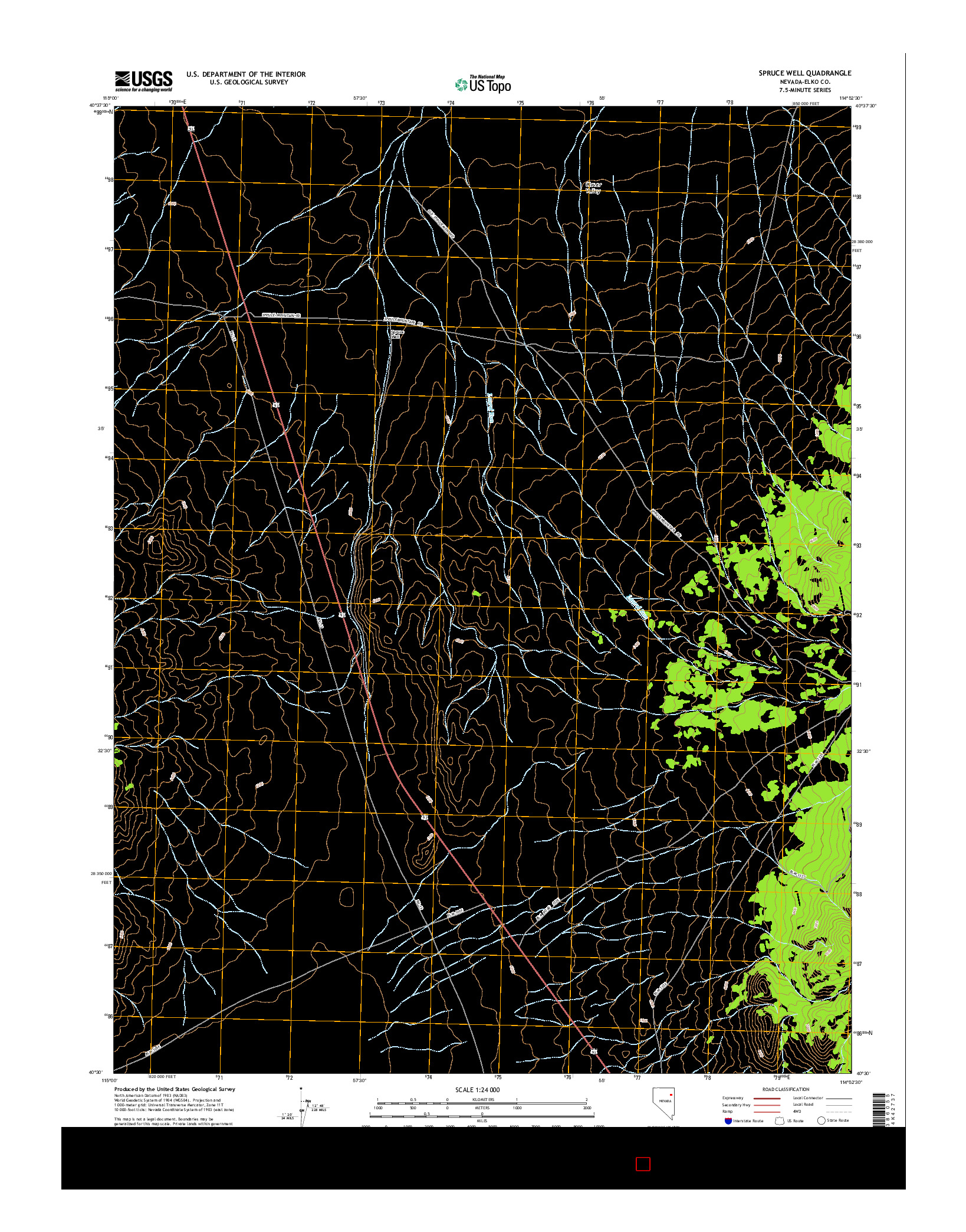 USGS US TOPO 7.5-MINUTE MAP FOR SPRUCE WELL, NV 2014