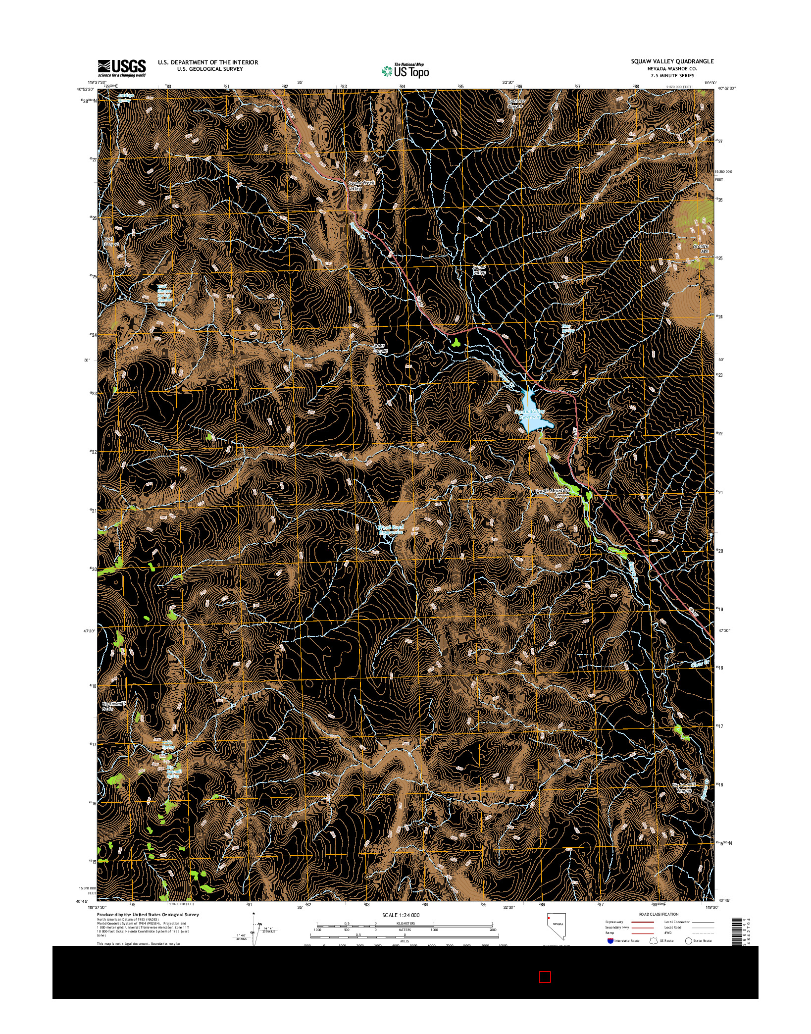 USGS US TOPO 7.5-MINUTE MAP FOR SQUAW VALLEY, NV 2014