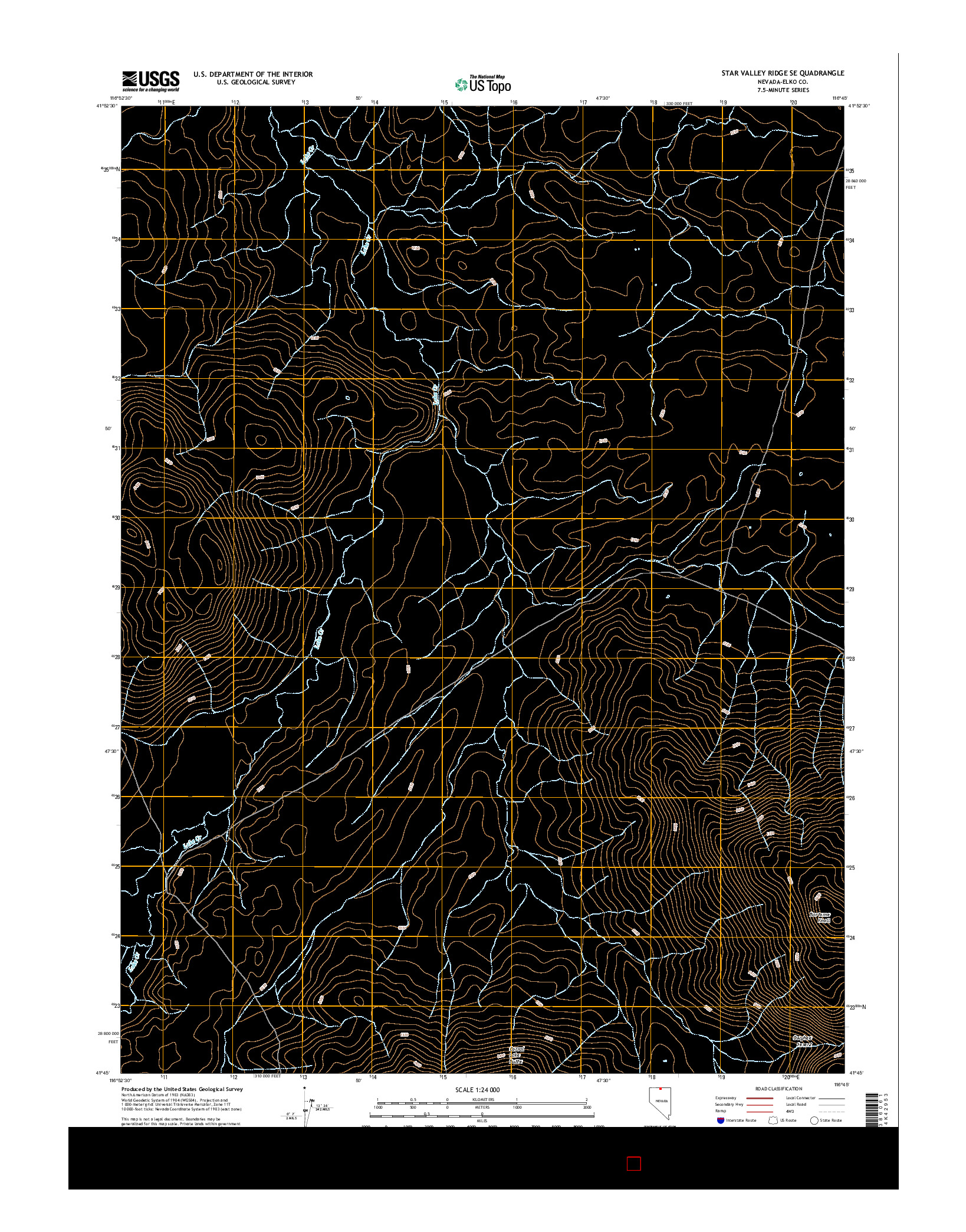 USGS US TOPO 7.5-MINUTE MAP FOR STAR VALLEY RIDGE SE, NV 2014