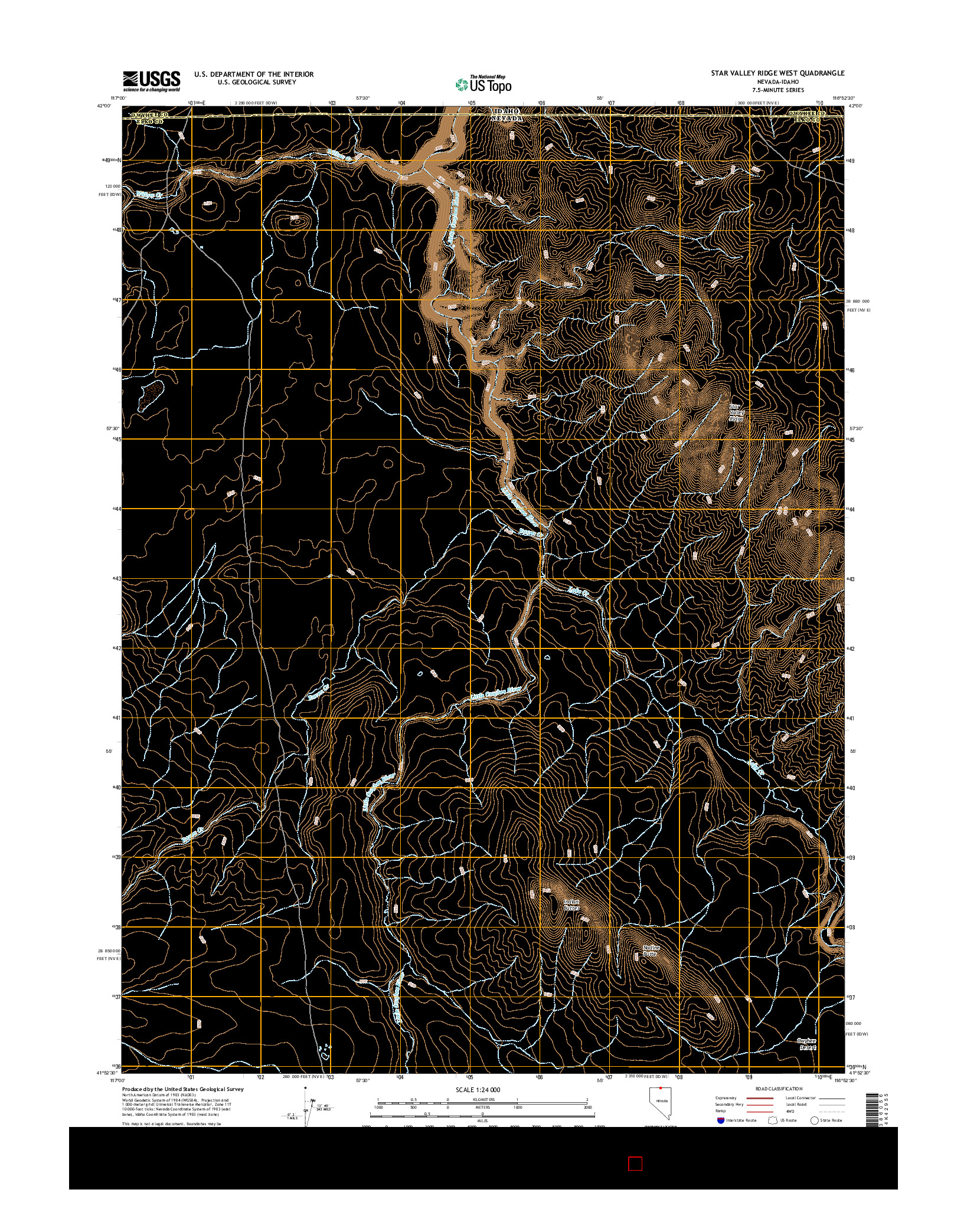 USGS US TOPO 7.5-MINUTE MAP FOR STAR VALLEY RIDGE WEST, NV-ID 2014