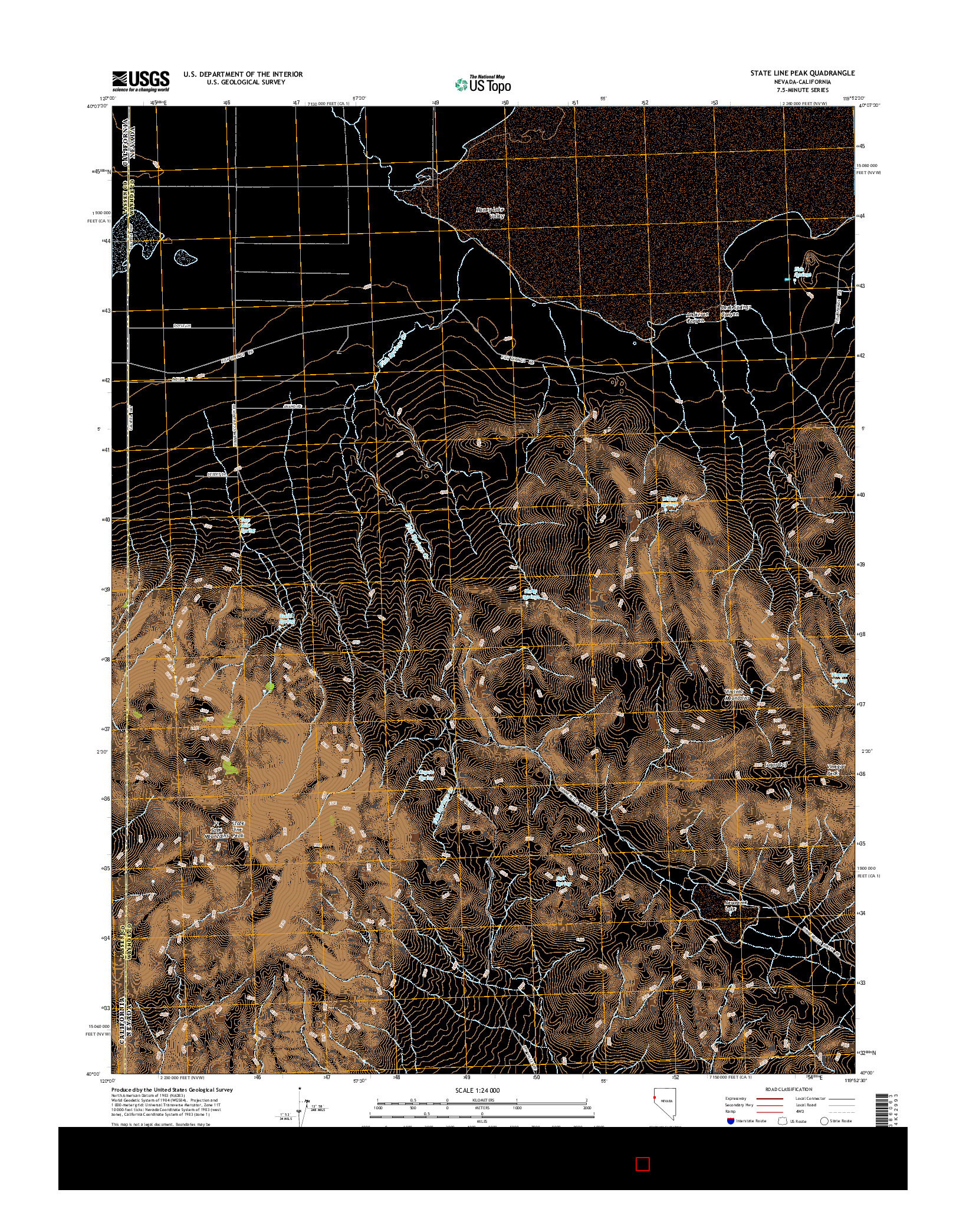USGS US TOPO 7.5-MINUTE MAP FOR STATE LINE PEAK, NV-CA 2014