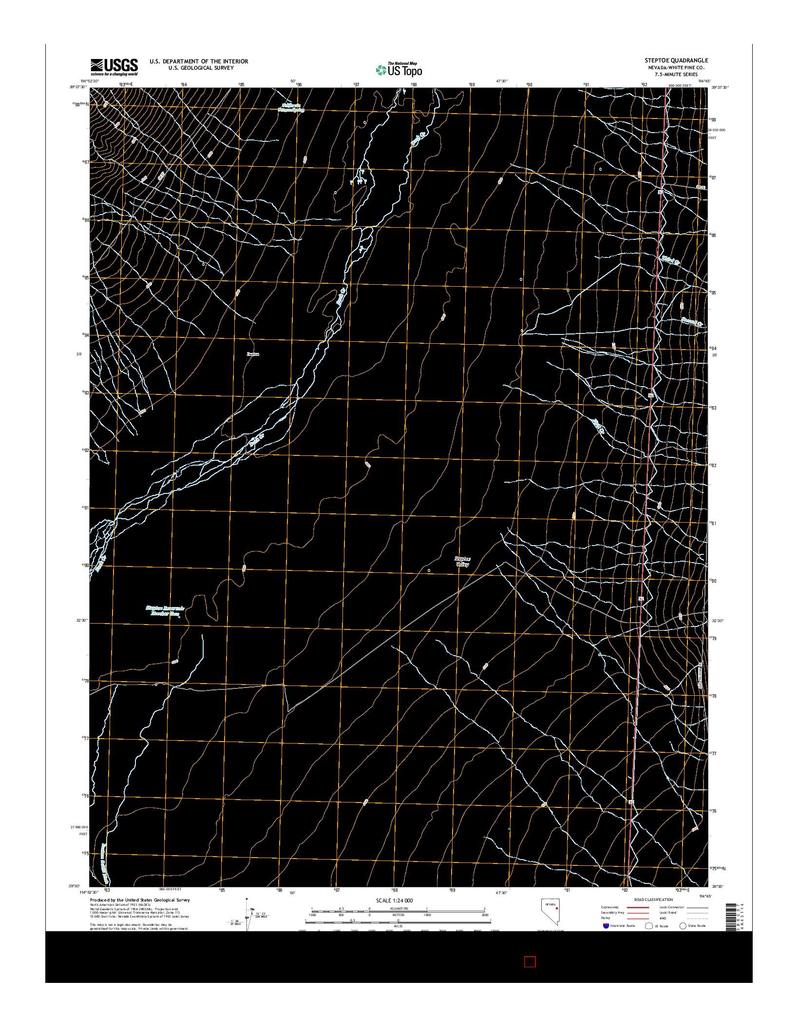 USGS US TOPO 7.5-MINUTE MAP FOR STEPTOE, NV 2014