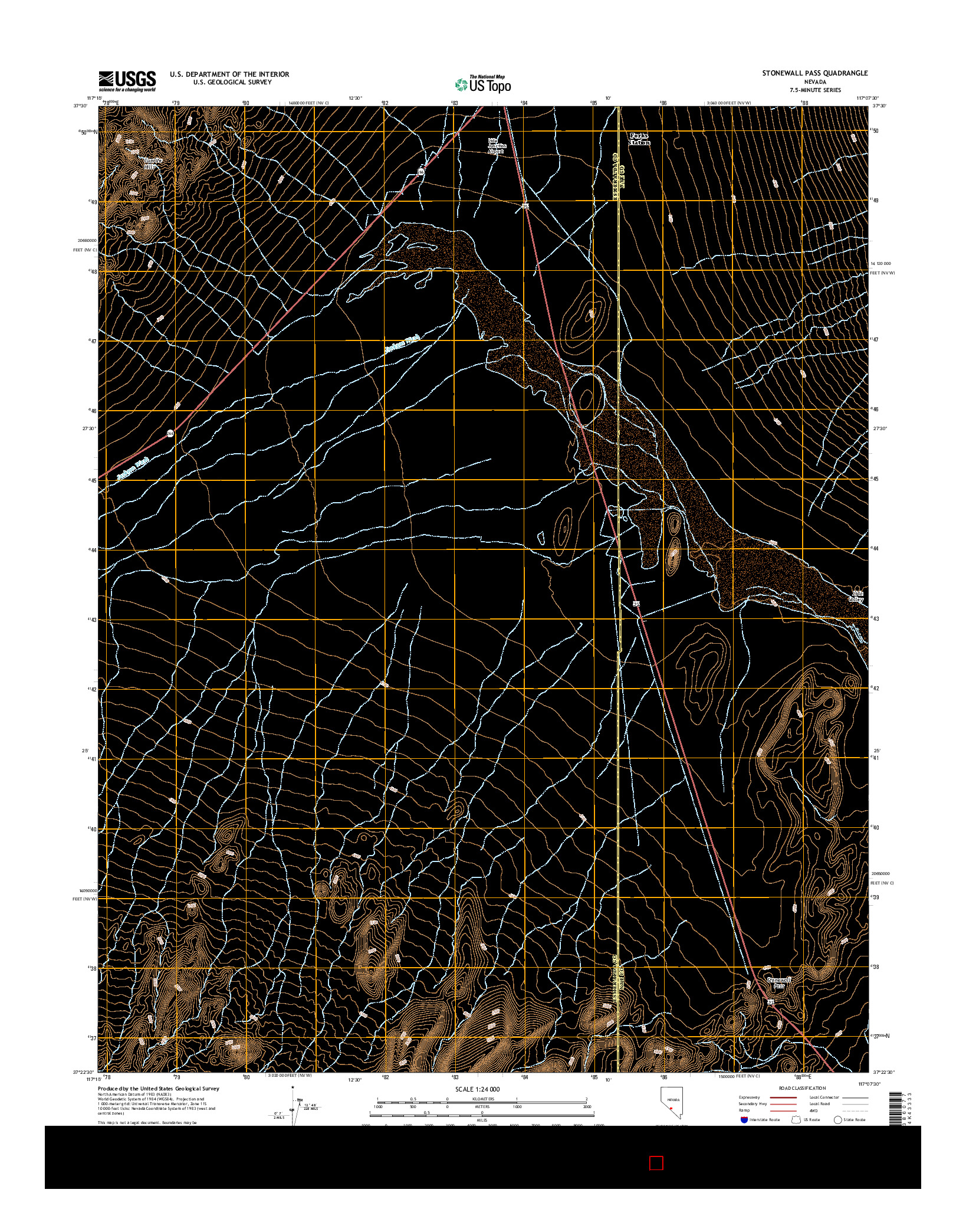USGS US TOPO 7.5-MINUTE MAP FOR STONEWALL PASS, NV 2014