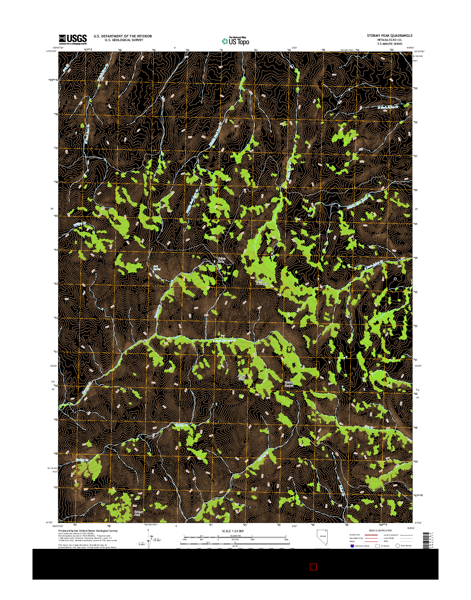USGS US TOPO 7.5-MINUTE MAP FOR STORMY PEAK, NV 2014