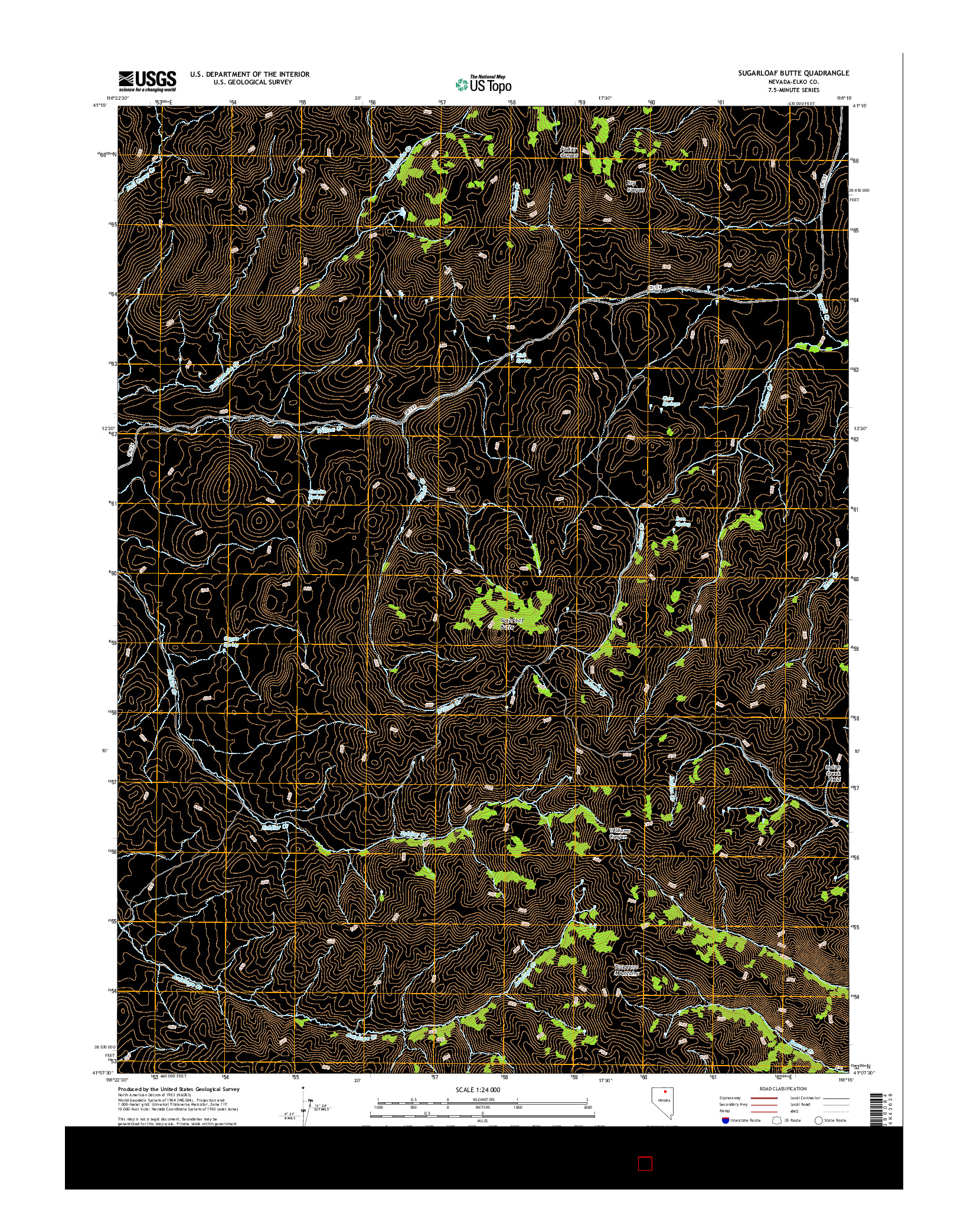 USGS US TOPO 7.5-MINUTE MAP FOR SUGARLOAF BUTTE, NV 2014