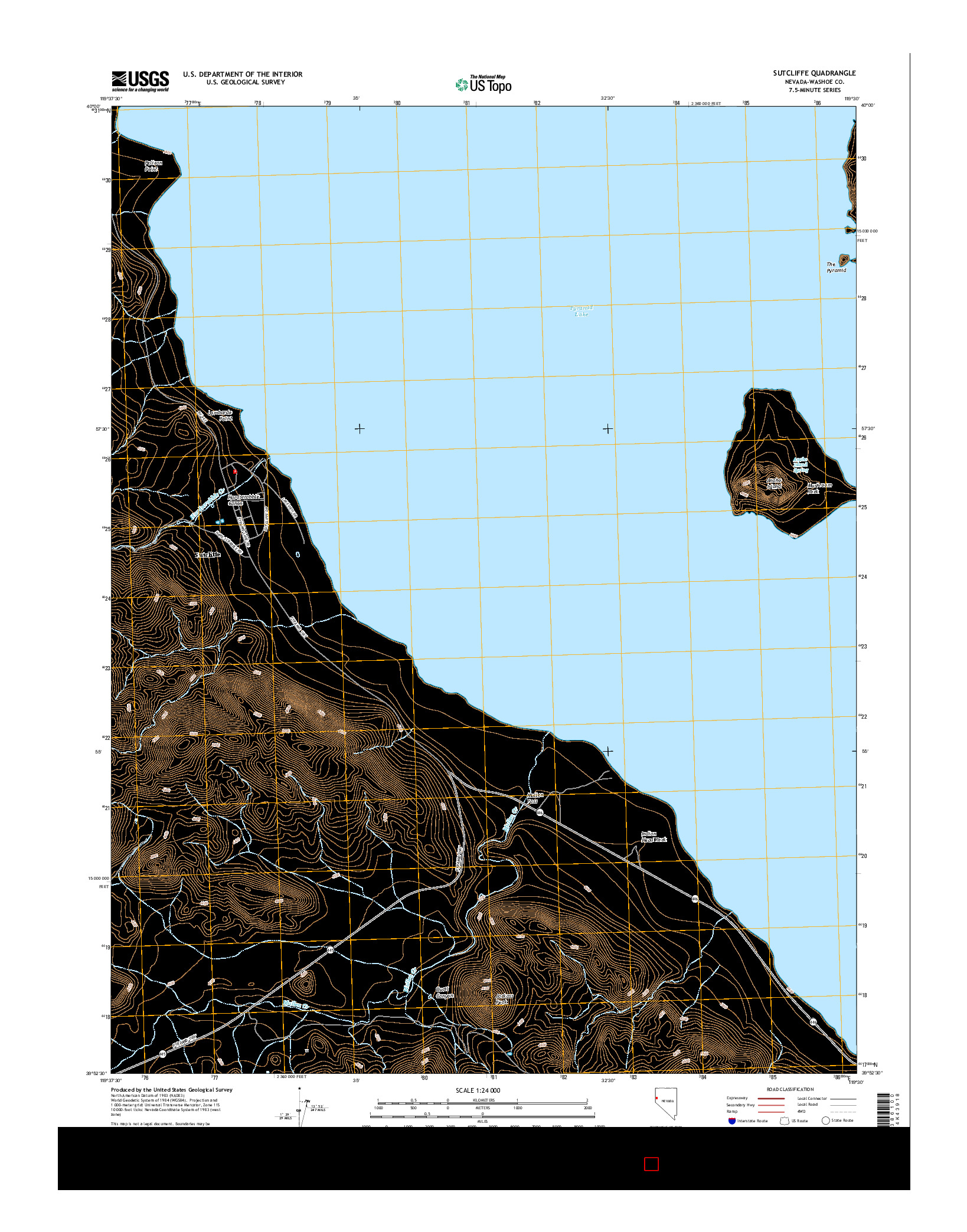 USGS US TOPO 7.5-MINUTE MAP FOR SUTCLIFFE, NV 2014