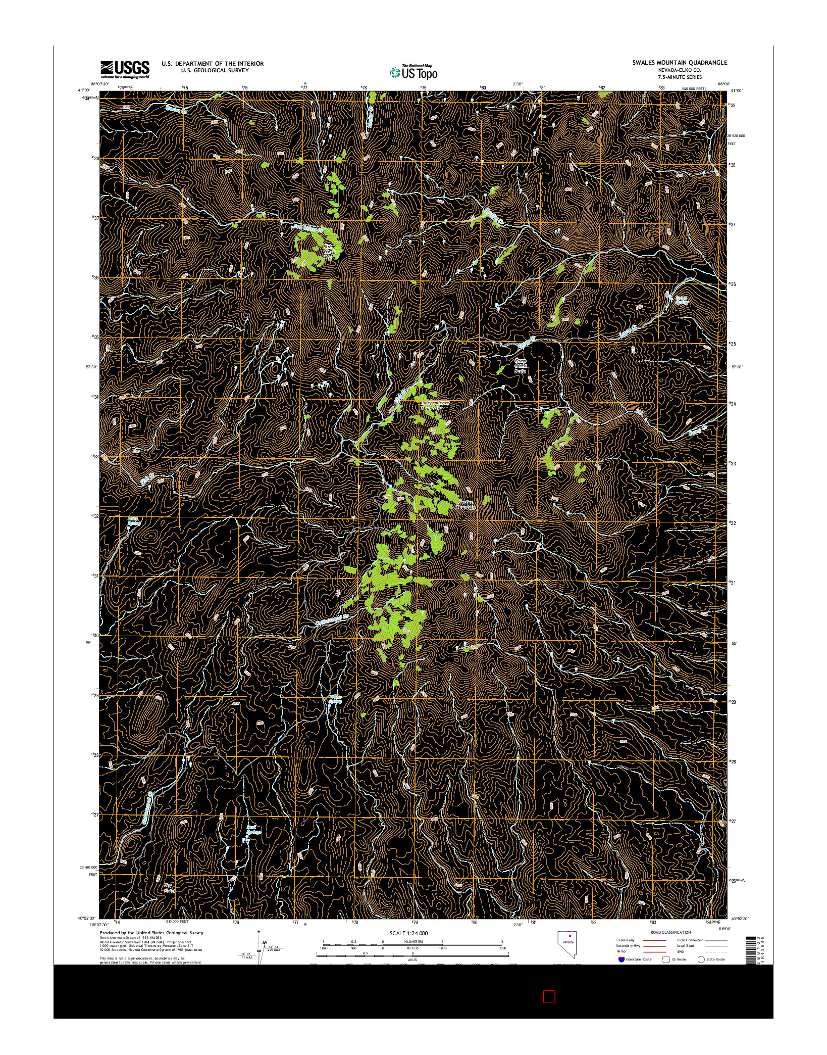 USGS US TOPO 7.5-MINUTE MAP FOR SWALES MOUNTAIN, NV 2014