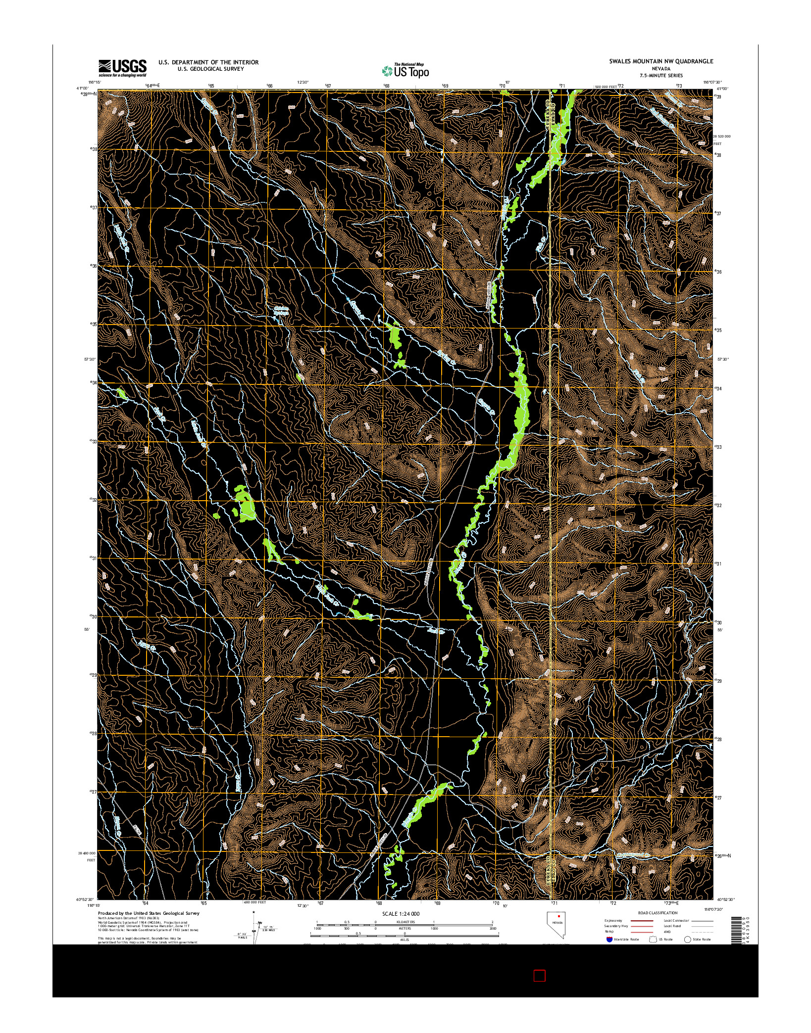 USGS US TOPO 7.5-MINUTE MAP FOR SWALES MOUNTAIN NW, NV 2014