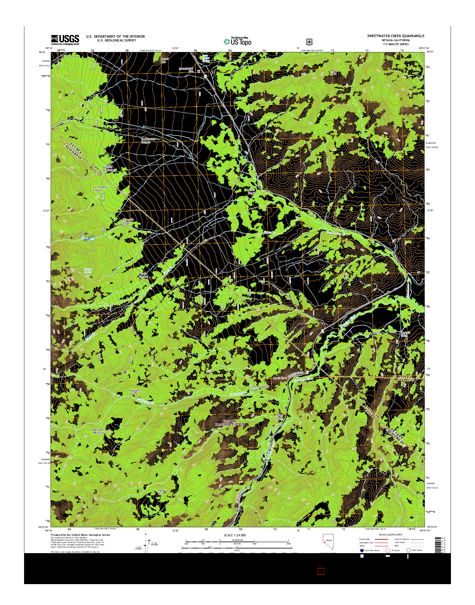 USGS US TOPO 7.5-MINUTE MAP FOR SWEETWATER CREEK, NV-CA 2014