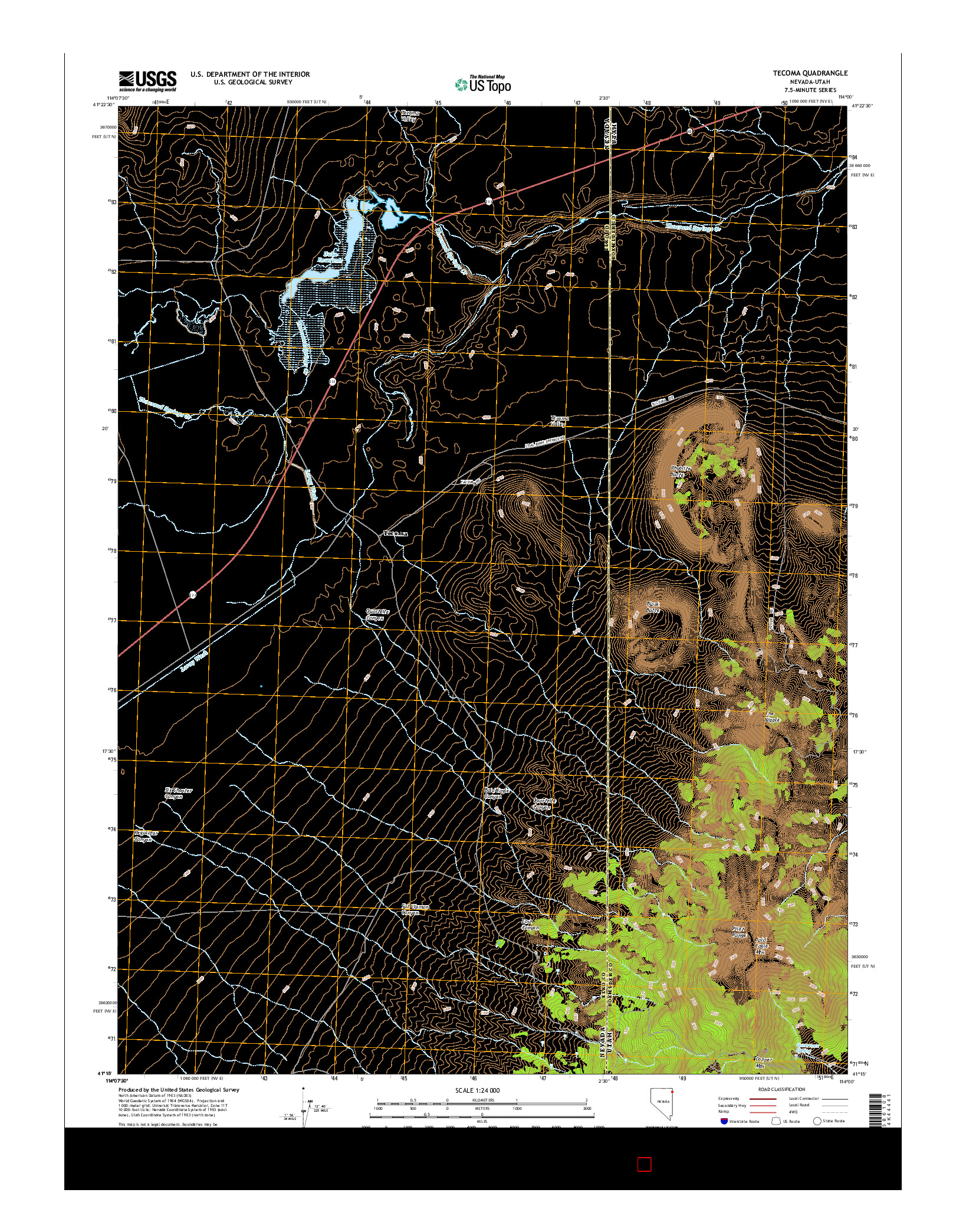 USGS US TOPO 7.5-MINUTE MAP FOR TECOMA, NV-UT 2014