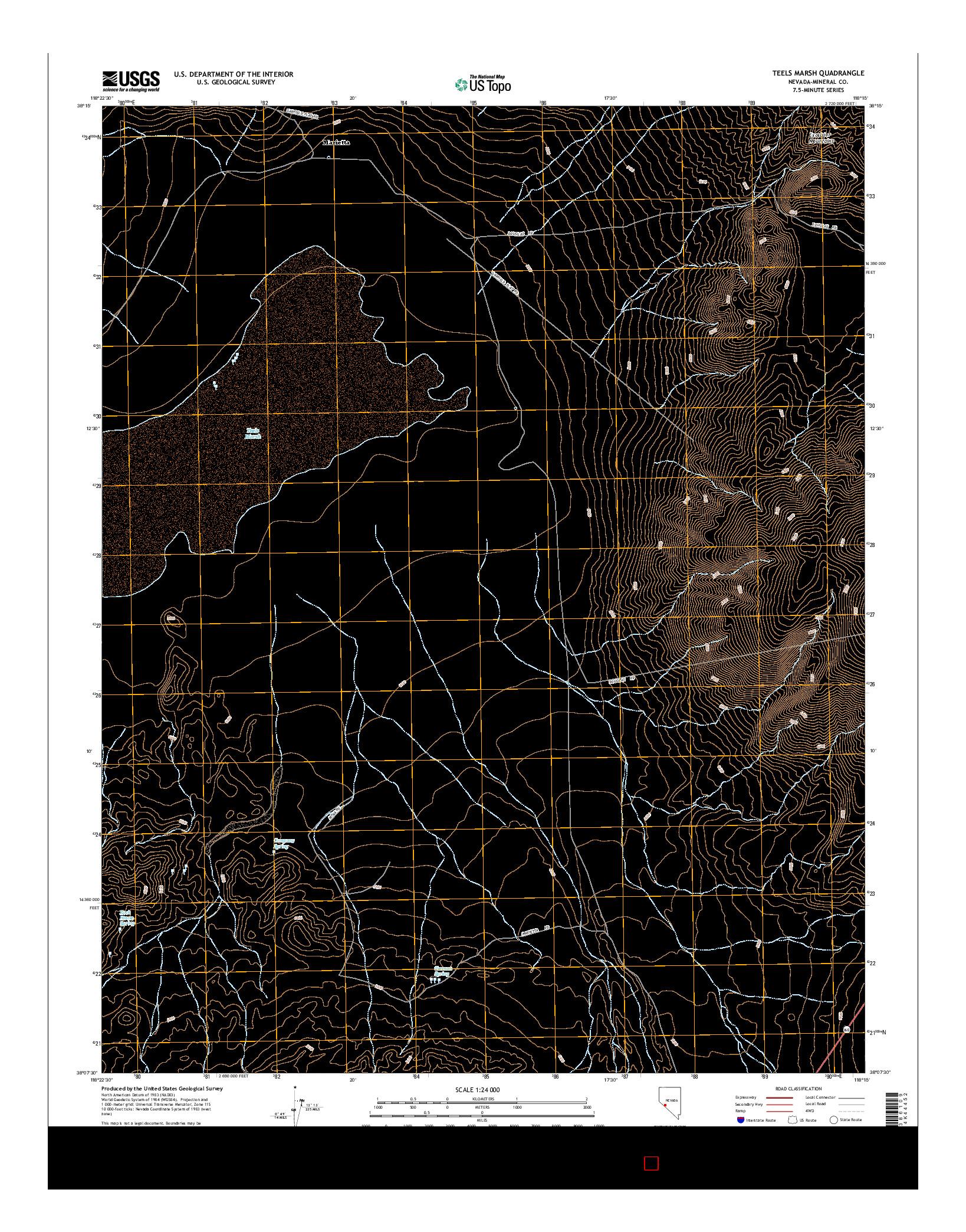 USGS US TOPO 7.5-MINUTE MAP FOR TEELS MARSH, NV 2014