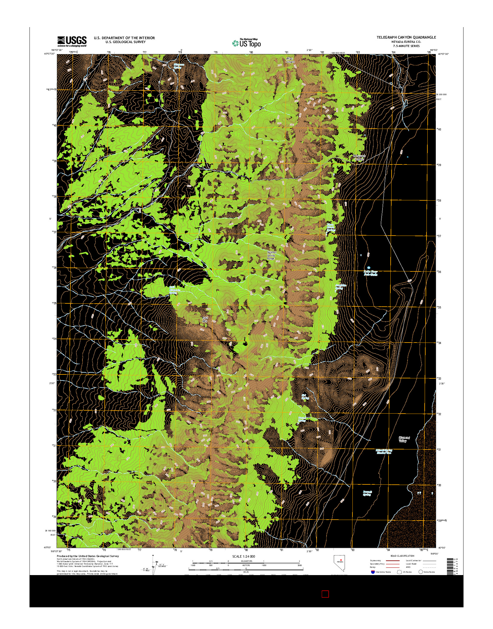 USGS US TOPO 7.5-MINUTE MAP FOR TELEGRAPH CANYON, NV 2014