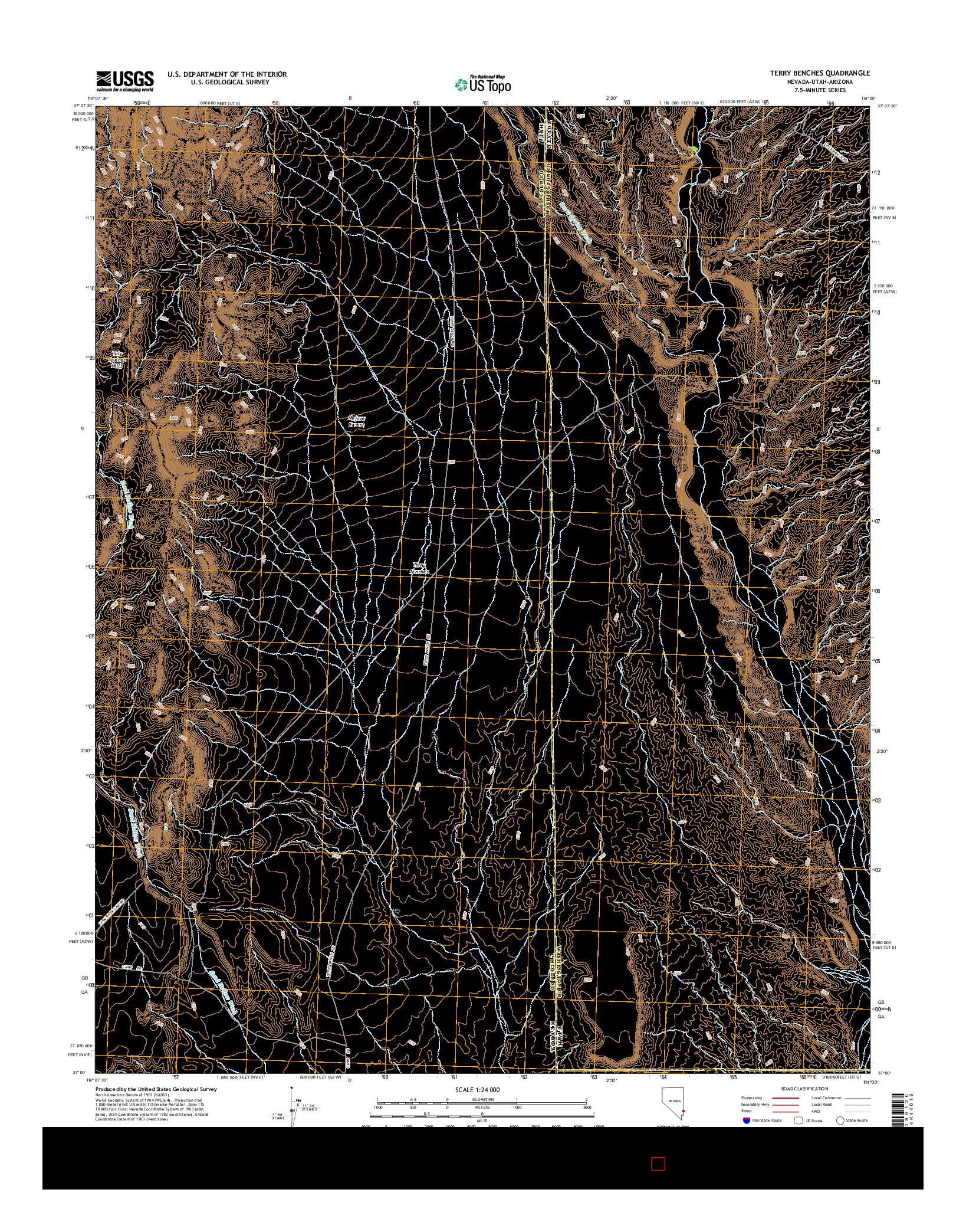 USGS US TOPO 7.5-MINUTE MAP FOR TERRY BENCHES, NV-UT-AZ 2014